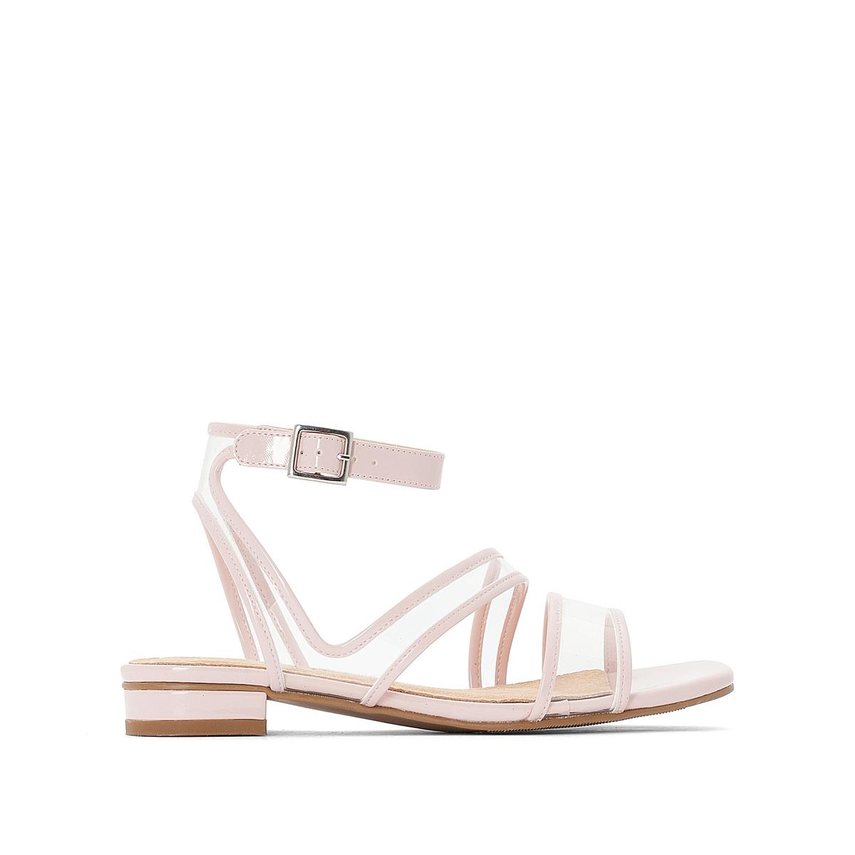 Босоножки La Redoute На плоском каблуке с прозрачными ремешками 37 розовый