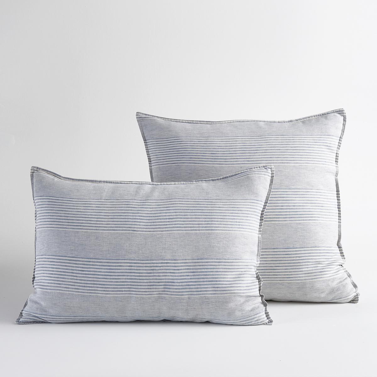Наволочка 100% лен, AudisioНаволочка из льна Audisio. Красивое сочетание широких и тонких полосок из окрашенной ткани и мягкость льна . Уникальное сочетание аутентичности, комфорта и элегантности, легкий лен дарит прохладу летом и комфорт зимой  ..Материал :- Чистый лен.Отделка :- Форма мешкаУход :- Стирка при 40°.Размер  :50 x 70  : прямоугольная65 х 65 : квадратная<br><br>Цвет: белый/ синий