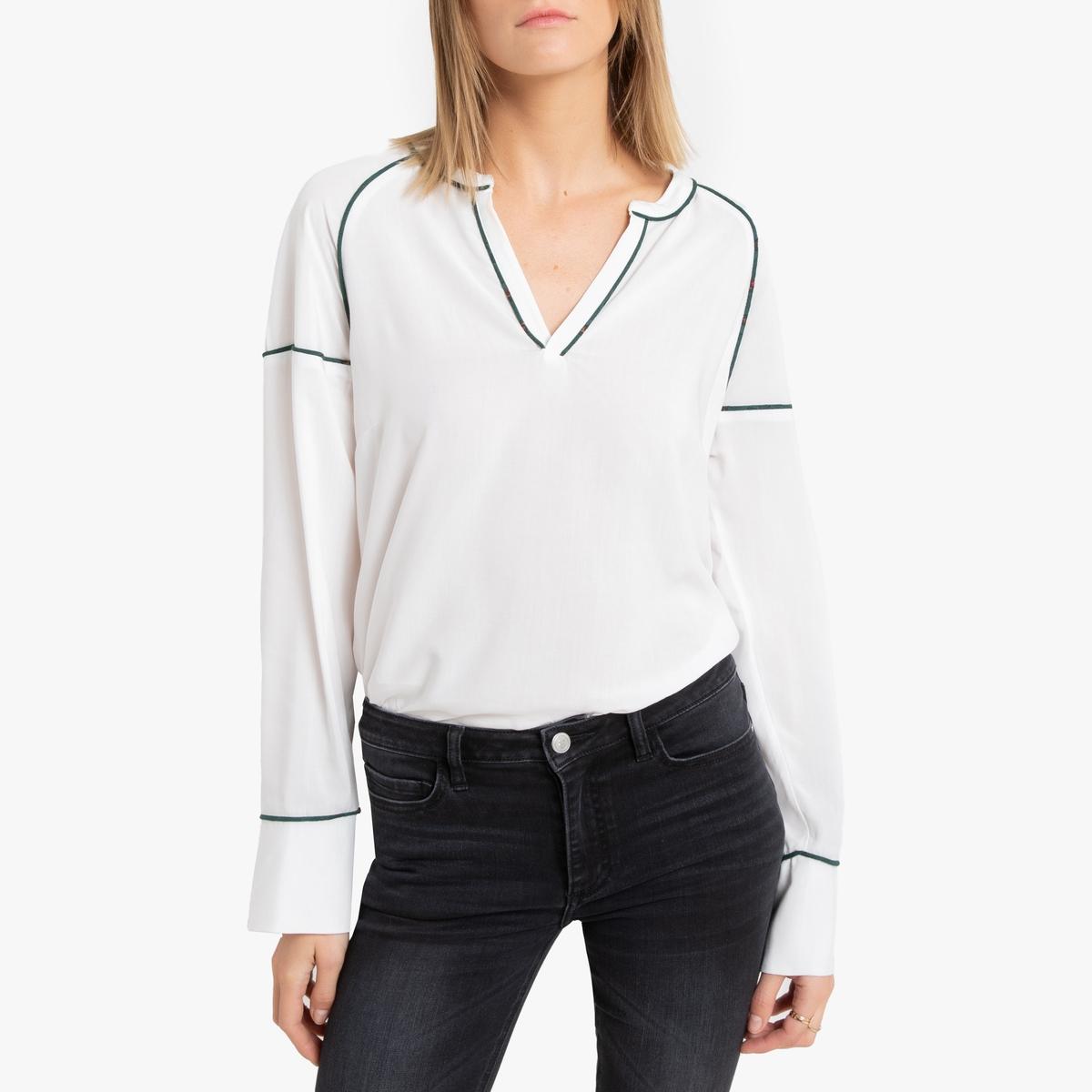 Блузка LaRedoute С V-образным вырезом и длинными рукавами 34 (FR) - 40 (RUS) белый блузка la redoute с рукавми и v образным вырезом 36 fr 42 rus синий