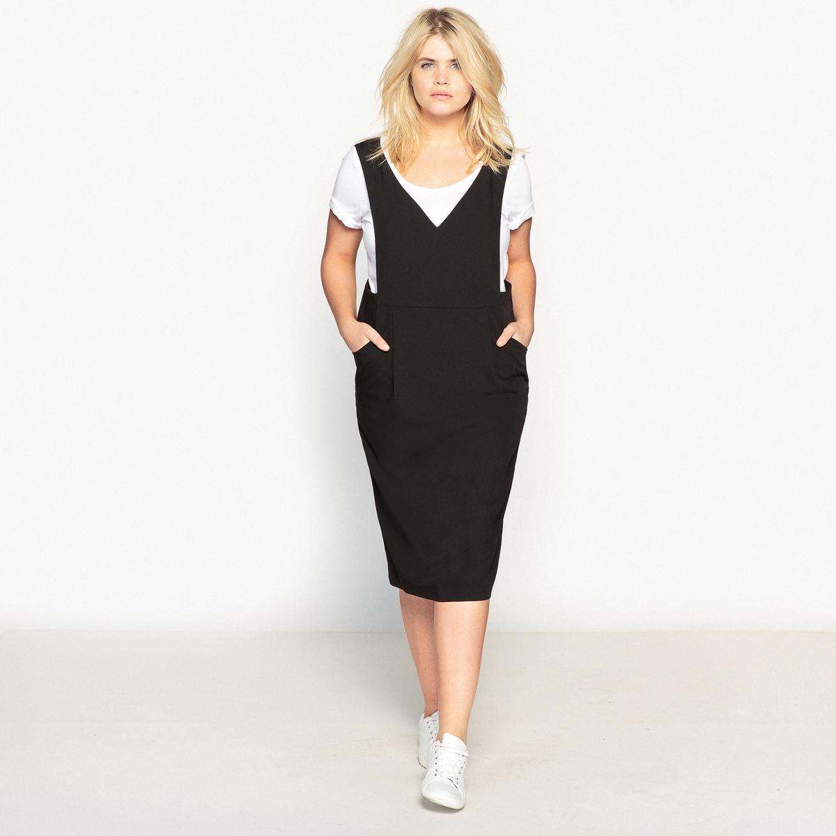 ПлатьеДлинное и элегантное платье. Изящное платье из эластичной ткани подойдет под любой наряд. Детали •  Форма : прямая •  Длинное •  Без рукавов    •   V-образный вырезСостав и уход •  19% вискозы, 7% эластана, 74% полиэстера •  Температура стирки 30° на деликатном режиме •  Сухая чистка и отбеливание запрещены    •  Не использовать барабанную сушку   •  Низкая температура глажкиТовар из коллекции больших размеров •  2 очень практичных кармана. •  Скрытая застежка на молнию сзади.<br><br>Цвет: черный<br>Размер: 62 (FR) - 68 (RUS)