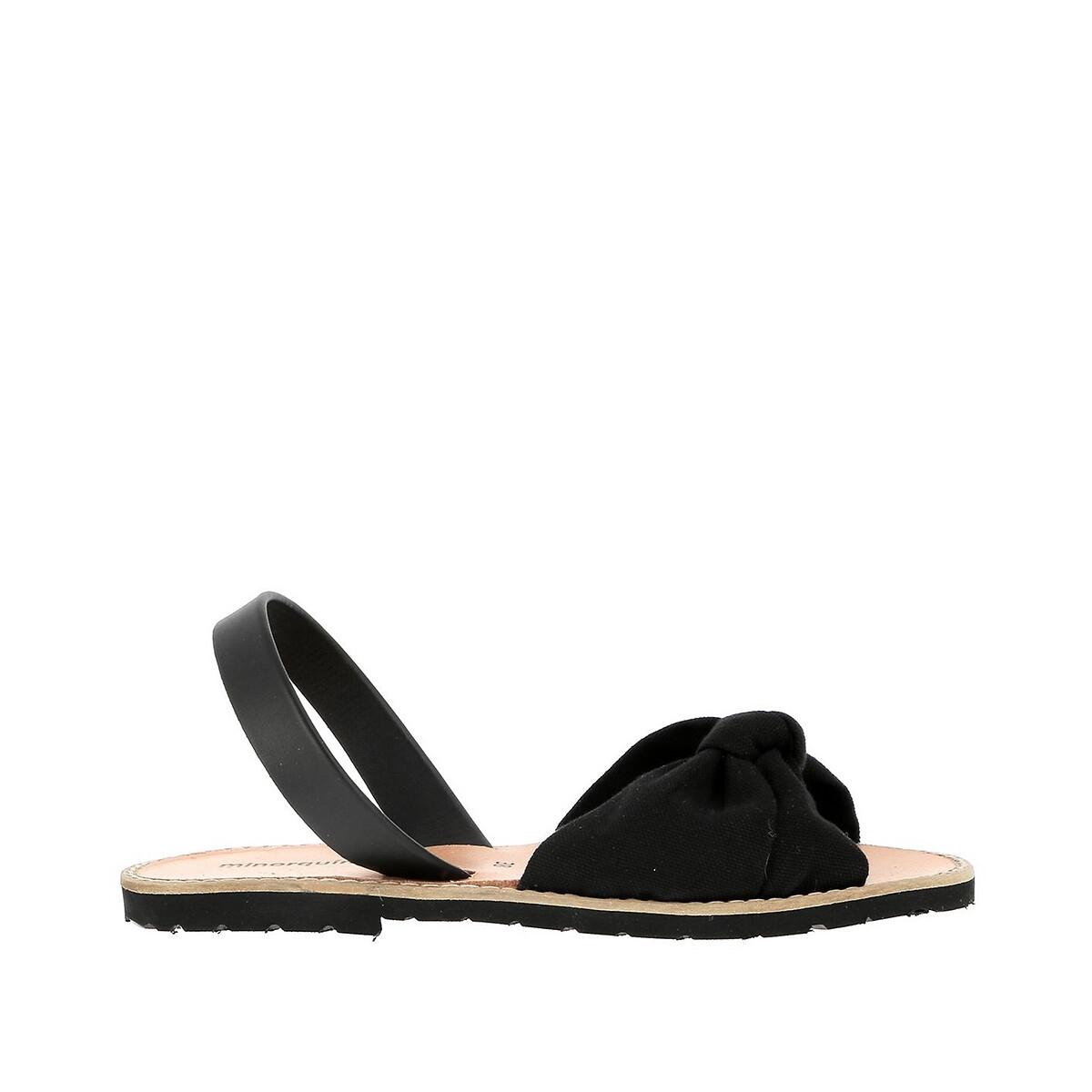 Фото - Сандалии LaRedoute С бантиком из кожи на плоском каблуке AVARCA BAHIA 36 черный сандалии la redoute из кожи с перекрещенными ремешками на плоском каблуке 39 розовый