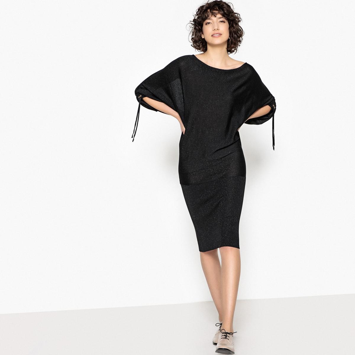 Платье трикотажное с рукавами летучая мышь полуприлегающее платье с рукавами летучая мышь s