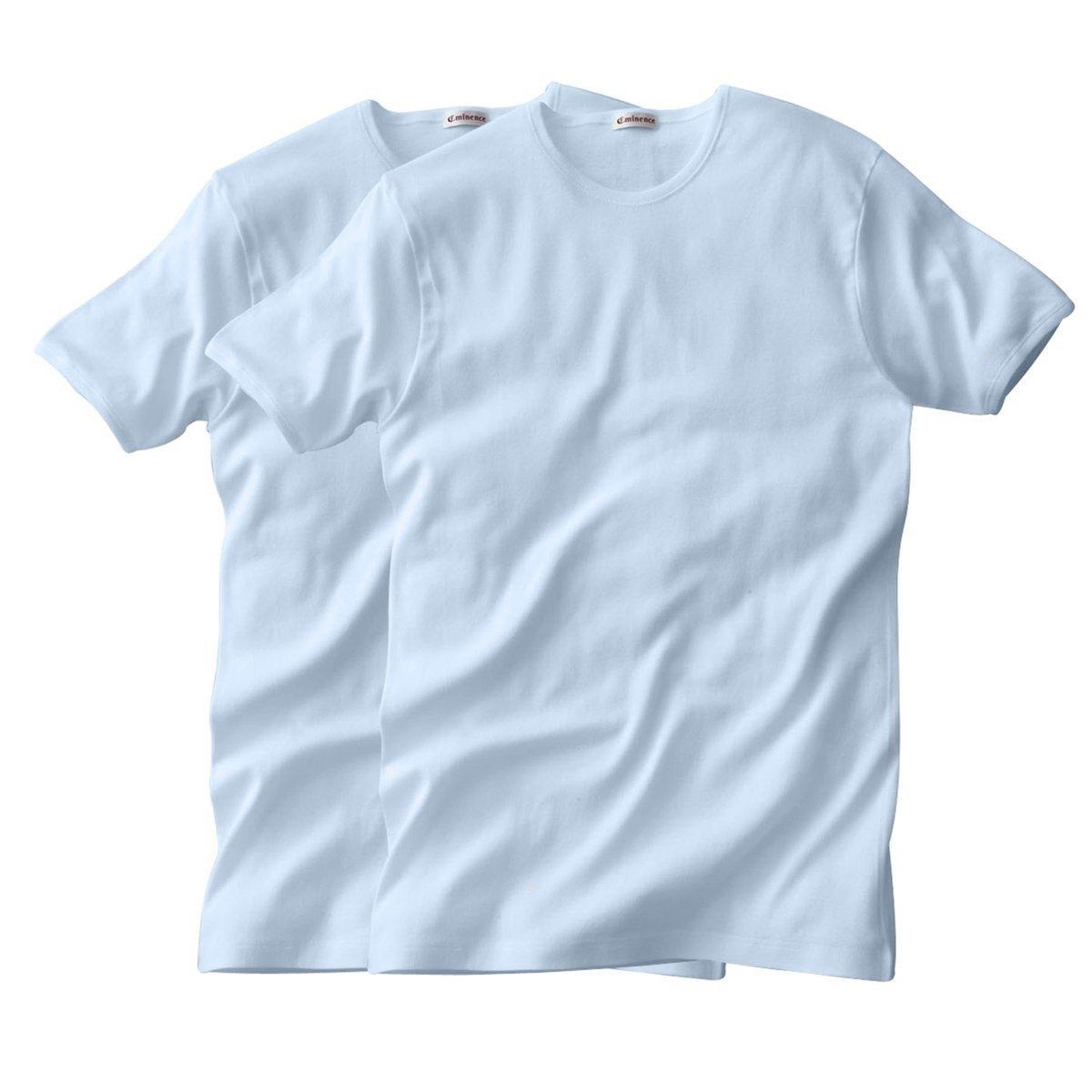 Футболка EMINENCE с круглым вырезом и короткими рукавами (2 шт.)Футболка EMINENCE с круглым вырезом и короткими рукавами из трикотажа в тонкий рубчик, 100% гипоаллергенный хлопок: приятный материал, минимальный риск возникновения аллергии. Круглый вырез. Короткие рукава. Удобная модель! Края связаны в рубчик.     В комплекте 2 футболки одного цвета.<br><br>Цвет: белый