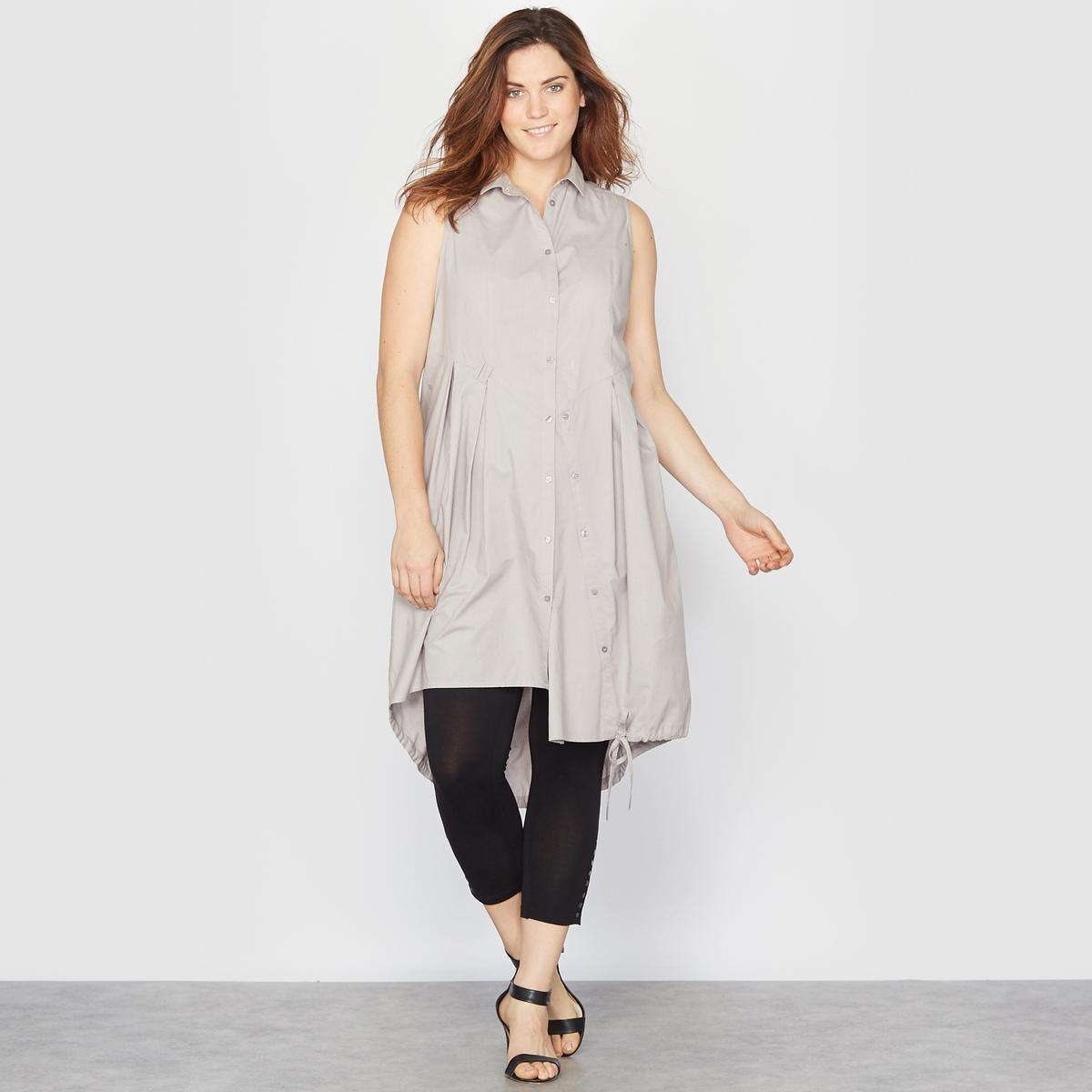 РубашкаРубашка без рукавов. Длинная рубашка идеально подойдёт к леггинсам! Асимметричная застёжка на пуговицы спереди. 100% хлопка. Длина 100 см.<br><br>Цвет: серый<br>Размер: 46 (FR) - 52 (RUS)