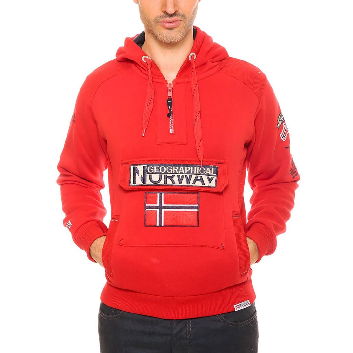 Свитшот с капюшономСостав и описаниеМатериал :  65% хлопка, 35% полиэстера    Марка : GEOGRAPHICAL NORWAY<br><br>Цвет: красный<br>Размер: XXL