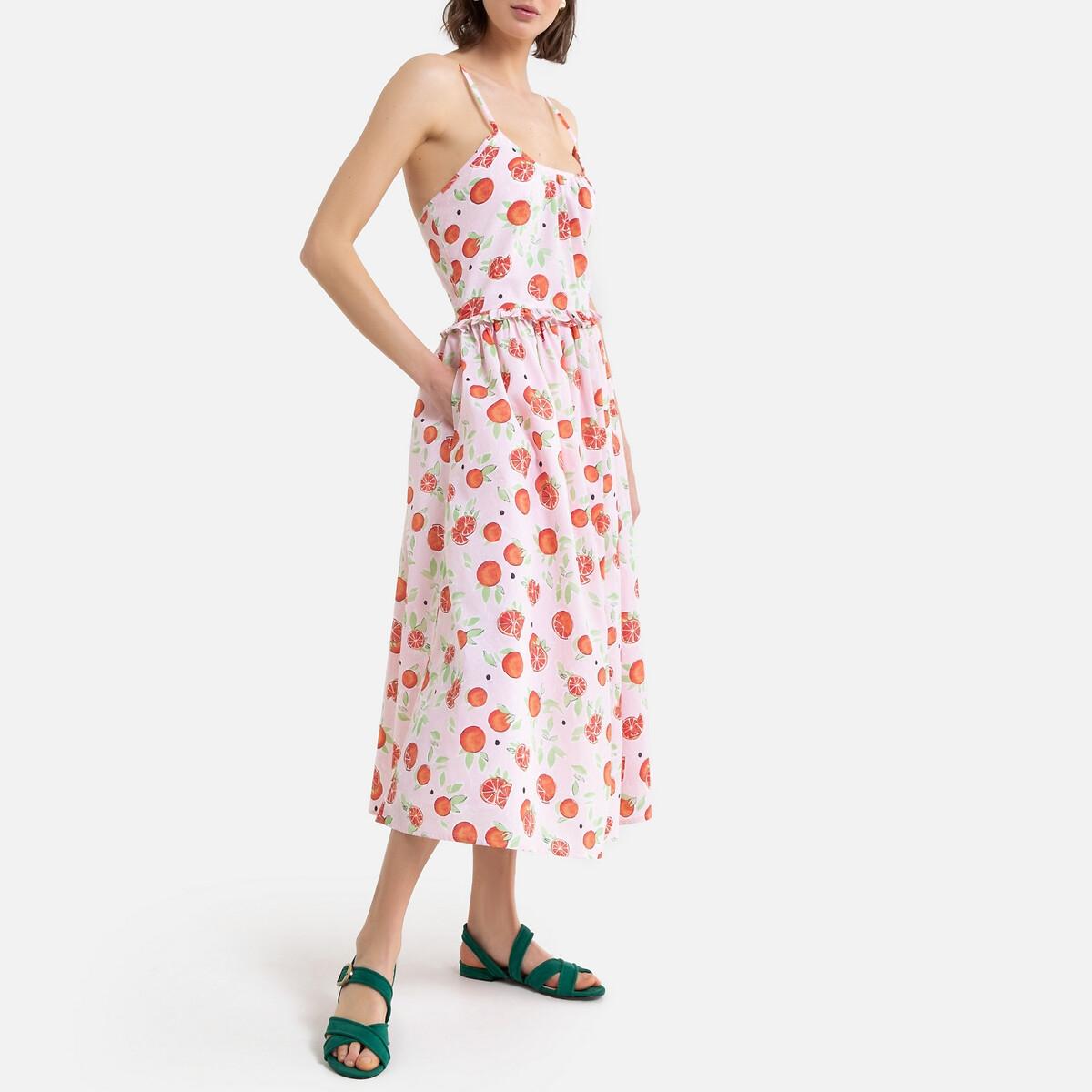 Платье La Redoute Расклешенное на бретелях макси с принтом 34 (FR) - 40 (RUS) розовый