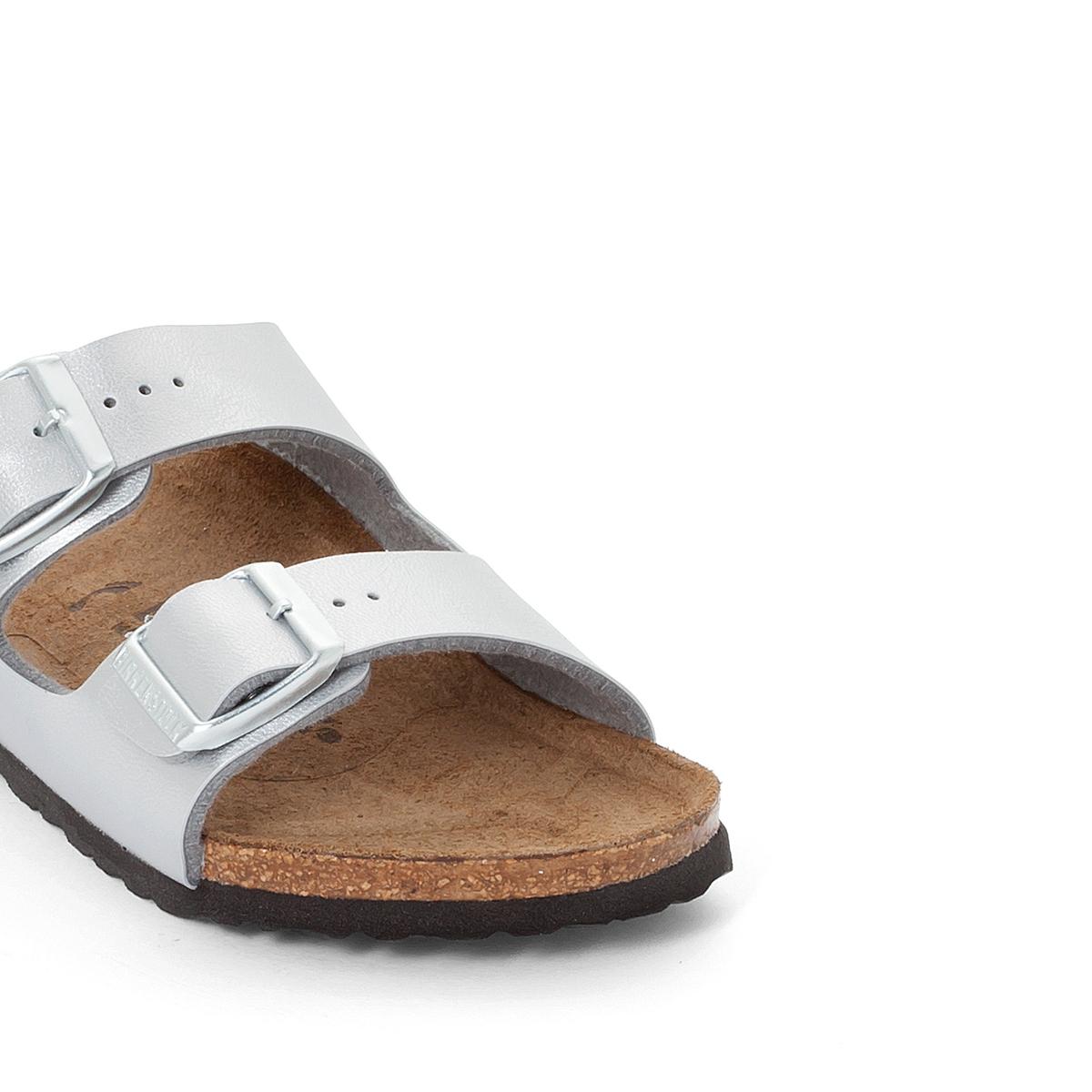 Туфли без задника синтетическиеДетали   •  Туфли без задника •  Застежка : без застежки •  Открытый мысокСостав и уход   •  Верх 100% синтетический материал •  Подкладка 100% текстиль •  Стелька 100% кожа •  Подошва 100% ЭВА<br><br>Цвет: серебристый<br>Размер: 31