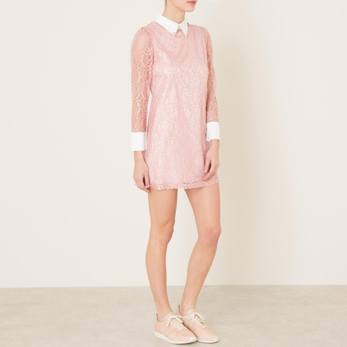 Платье из кружеваСостав и описание    Материал : 100% полиэстер   Подкладка 97% полиэстера, 3% эластана   Длина : ок.82 см. для размера 36   Марка : SISTER JANE<br><br>Цвет: розовый