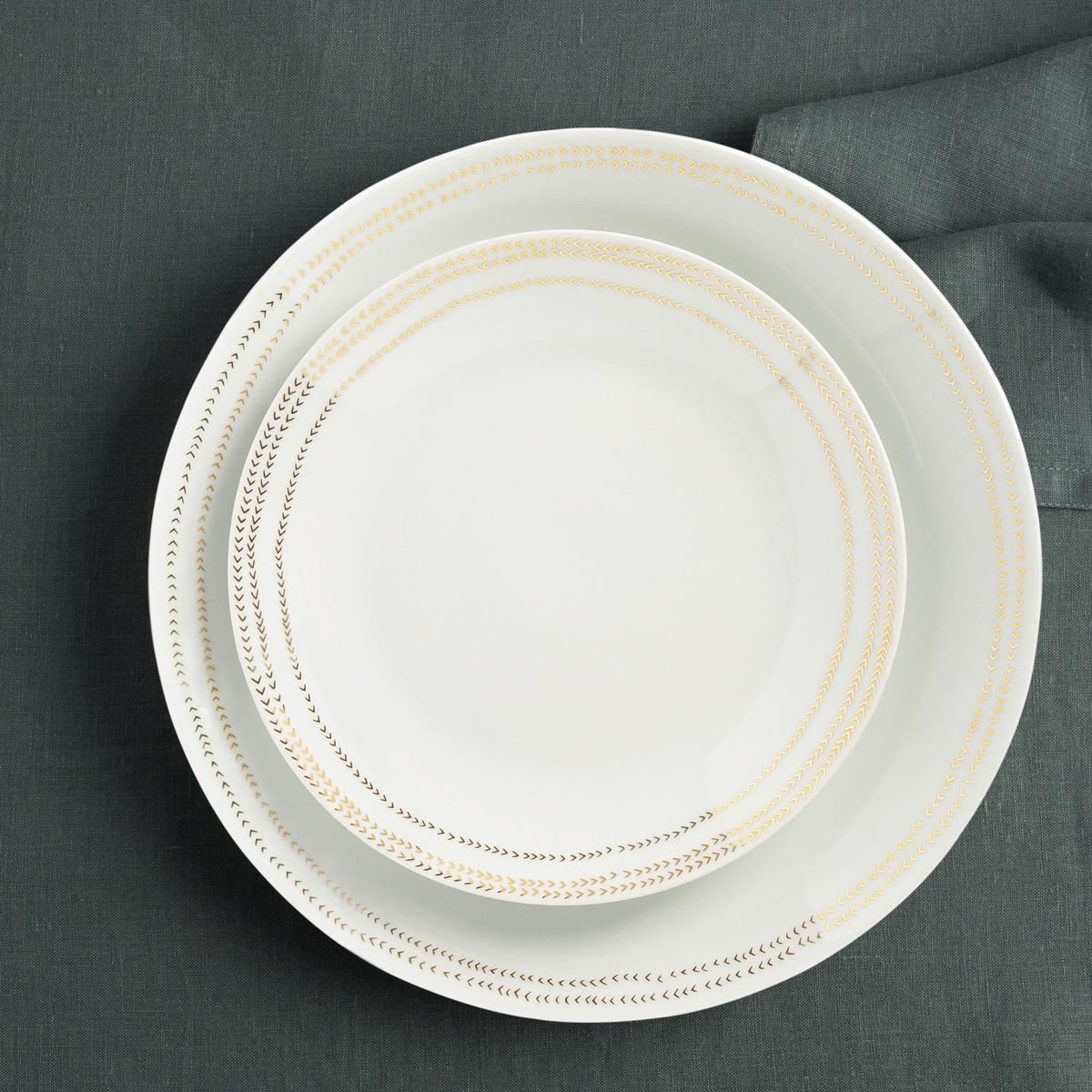 Фото - 4 десертные LaRedoute Тарелки Essentielle единый размер белый 4 десертные laredoute тарелки из глазурованной керамики anika единый размер серый