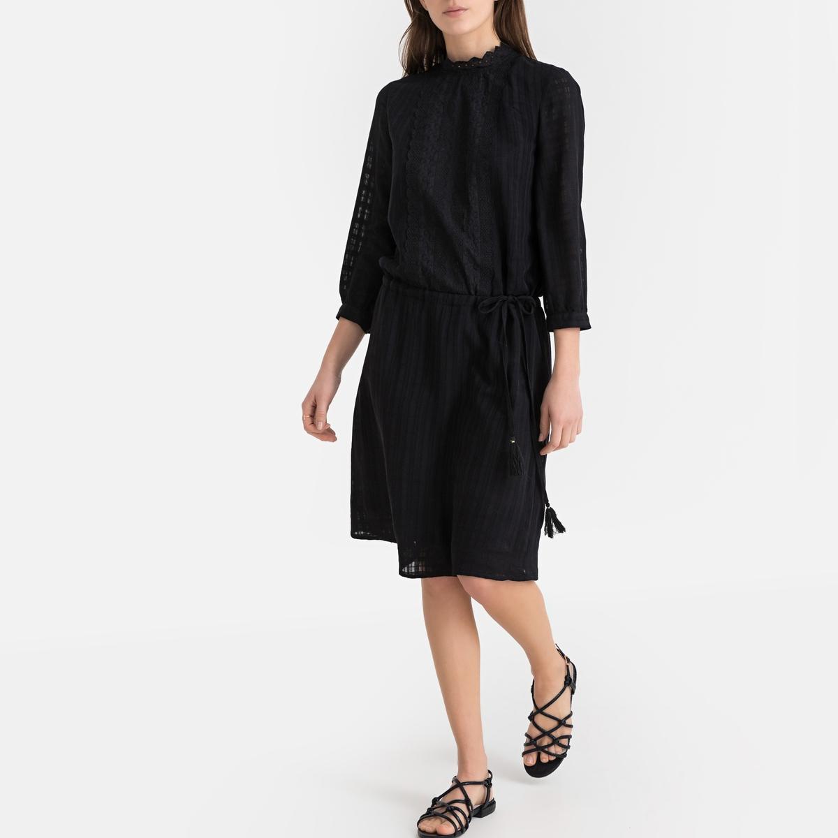 Платье La Redoute С воротником-стойкой и рукавами 34 (FR) - 40 (RUS) черный платье свитшот la redoute с воротником стойкой и застежкой на молнию сзади 34 fr 40 rus серый