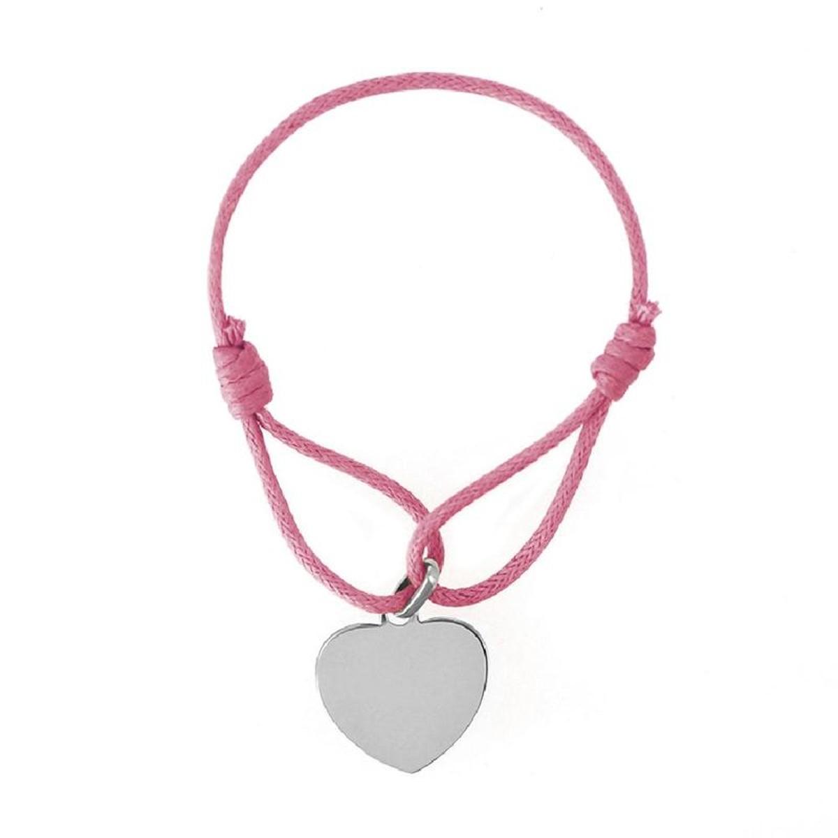 Bracelet Cordon Rose Longueur réglable Coeur Argent 925