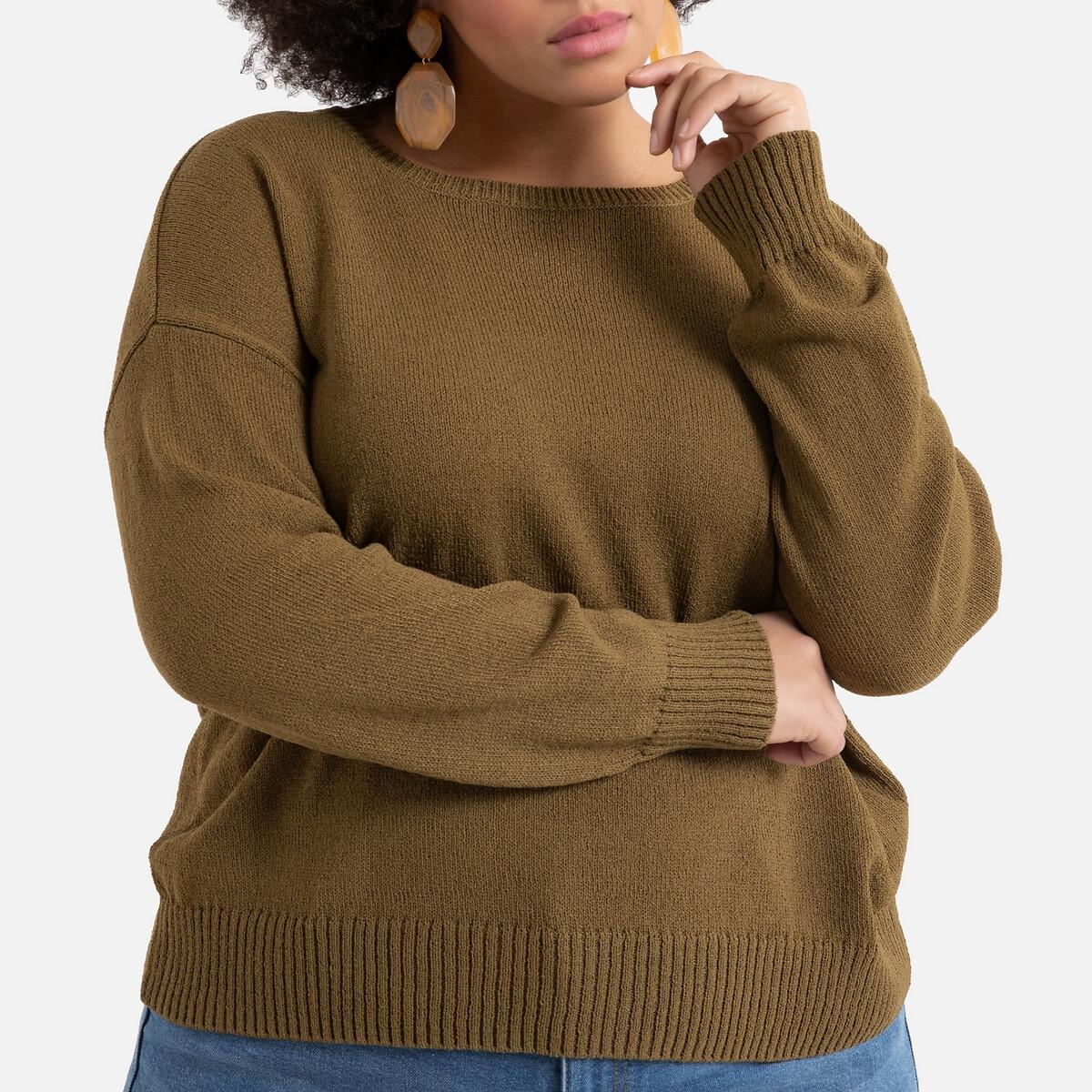 Пуловер LaRedoute С вырезом-лодочкой из плотного трикотажа 54/56 (FR) - 60/62 (RUS) зеленый пуловер la redoute с открытыми плечами из плотного трикотажа с узором косы 40 fr 46 rus зеленый