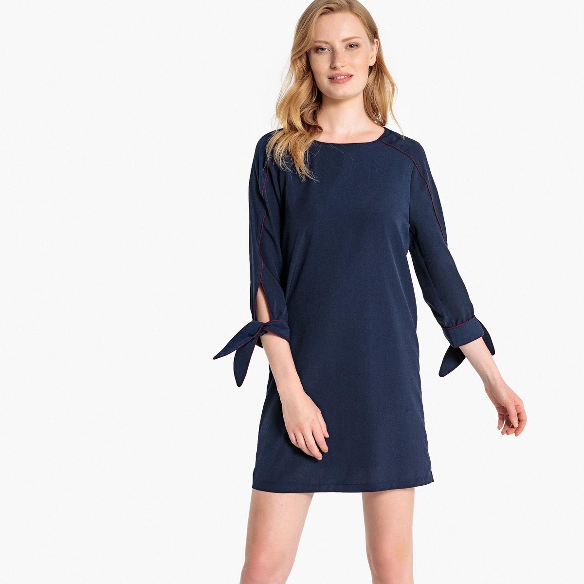 Платье La Redoute Прямое с бантиками на рукавах 36 (FR) - 42 (RUS) синий