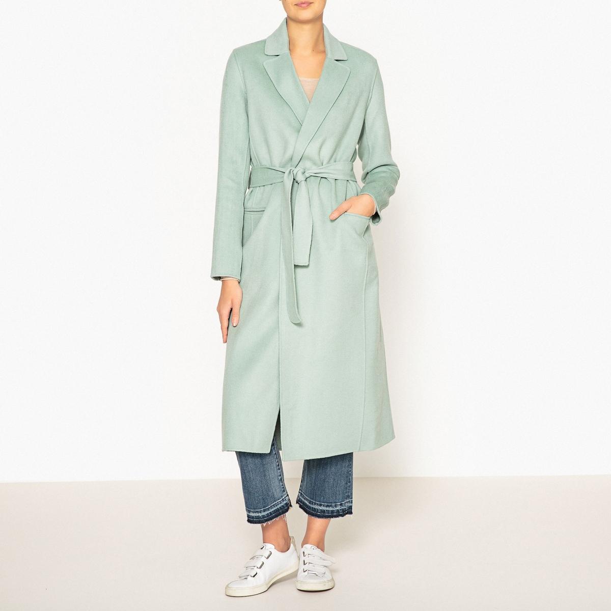 Пальто длинное в стиле халата DUFFY пальто двухцветное с поясом 70% шерсти