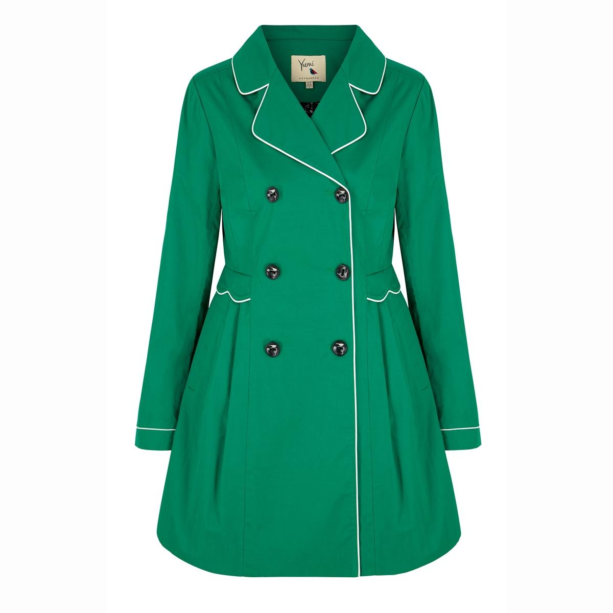 Пальто-тренч водонепроницаемое однотонного цветаСостав и деталиМатериал 100% полиэстераПодкладка 100% хлопкаМарка YUMI<br><br>Цвет: зеленый<br>Размер: 36 (FR) - 42 (RUS)