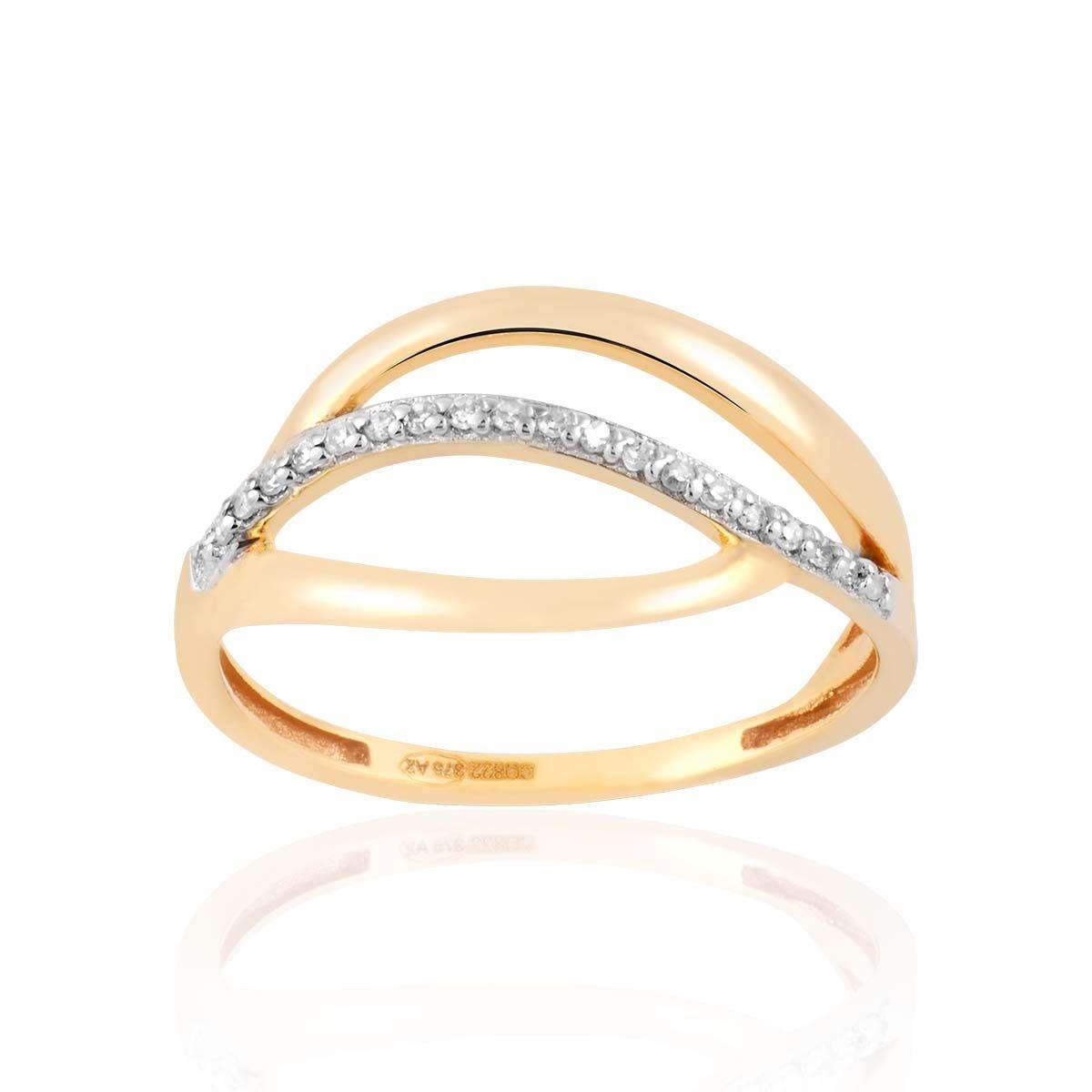 Bague en Or 375/1000 Jaune et Diamant Blanc