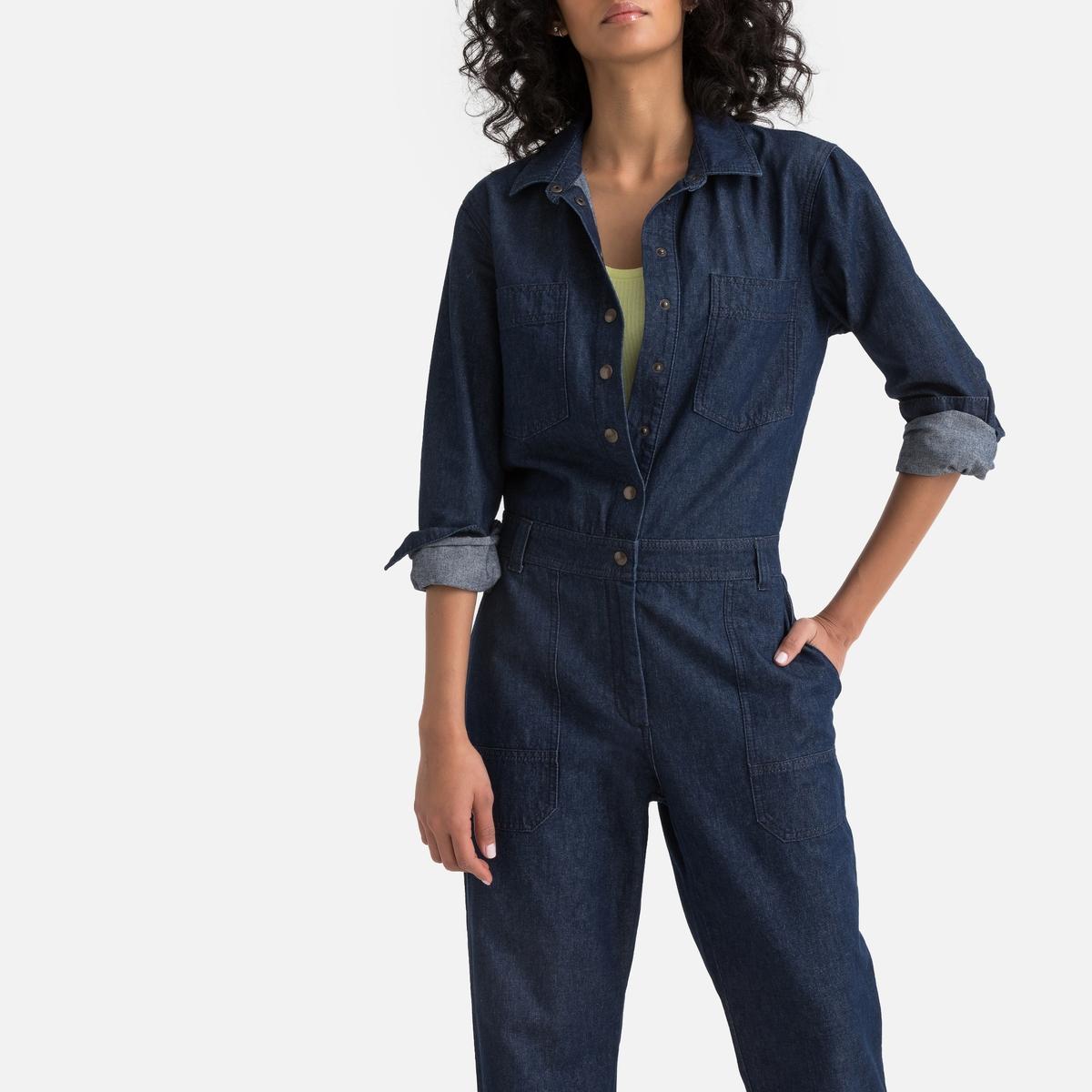 Комбинезон La Redoute С брюками из джинсовой ткани 36 (FR) - 42 (RUS) синий комбинезон с брюками однотонный