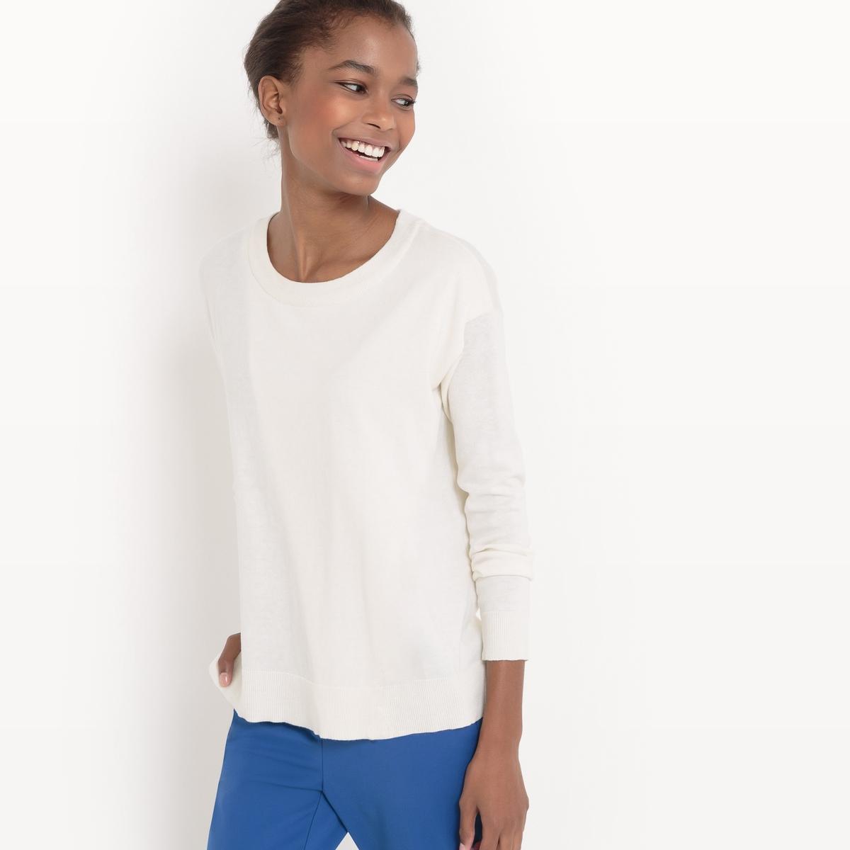Jersey con cuello redondo de algodón/seda