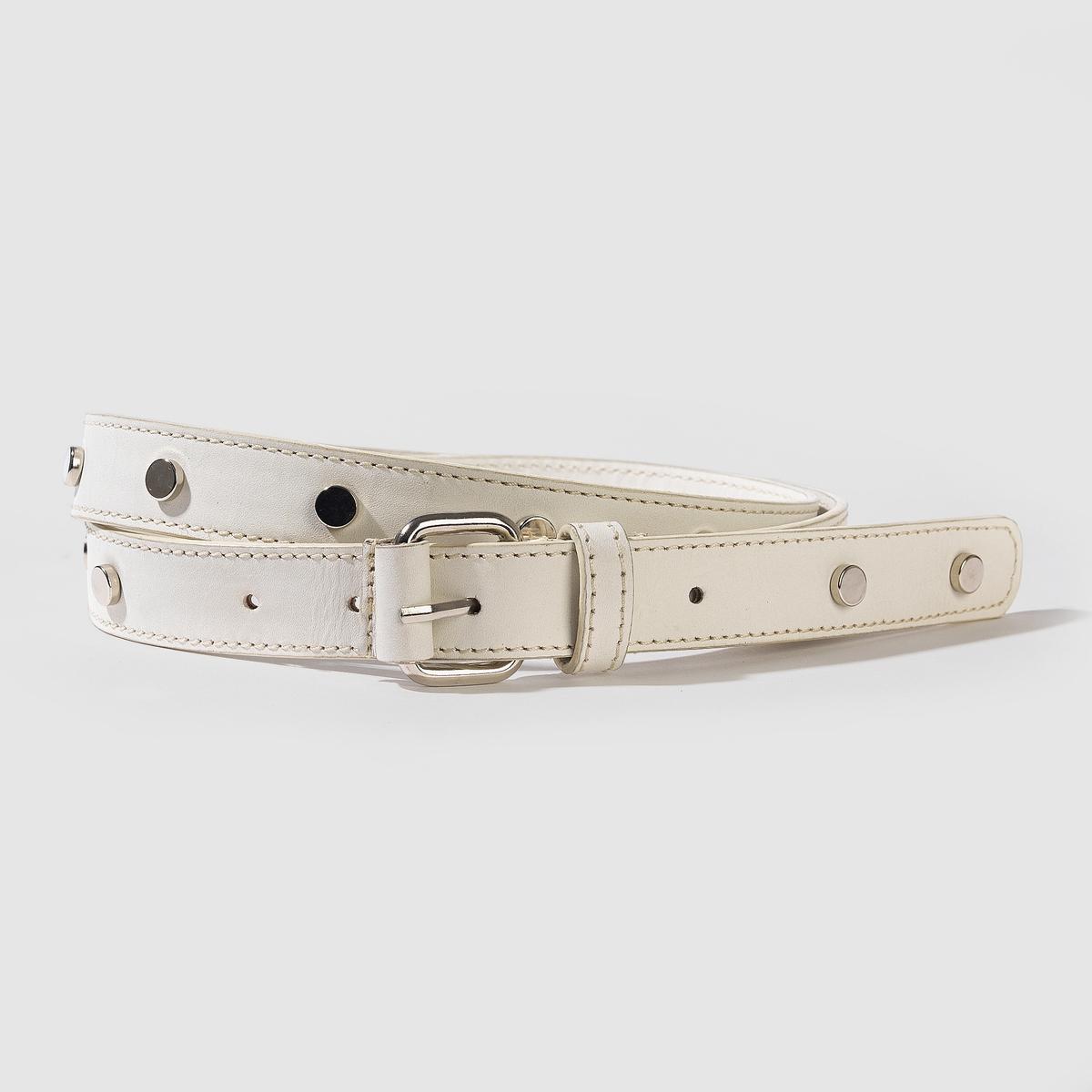 Ремень кожаныйКожаный ременьМарка: Carven X La Redoute.Материал: буйволовая кожа.Застежка: на металлическую пряжку.Ширина: .8,5 смРазмер: 75 см, 85 см, 95 см.<br><br>Цвет: белый<br>Размер: 95 см