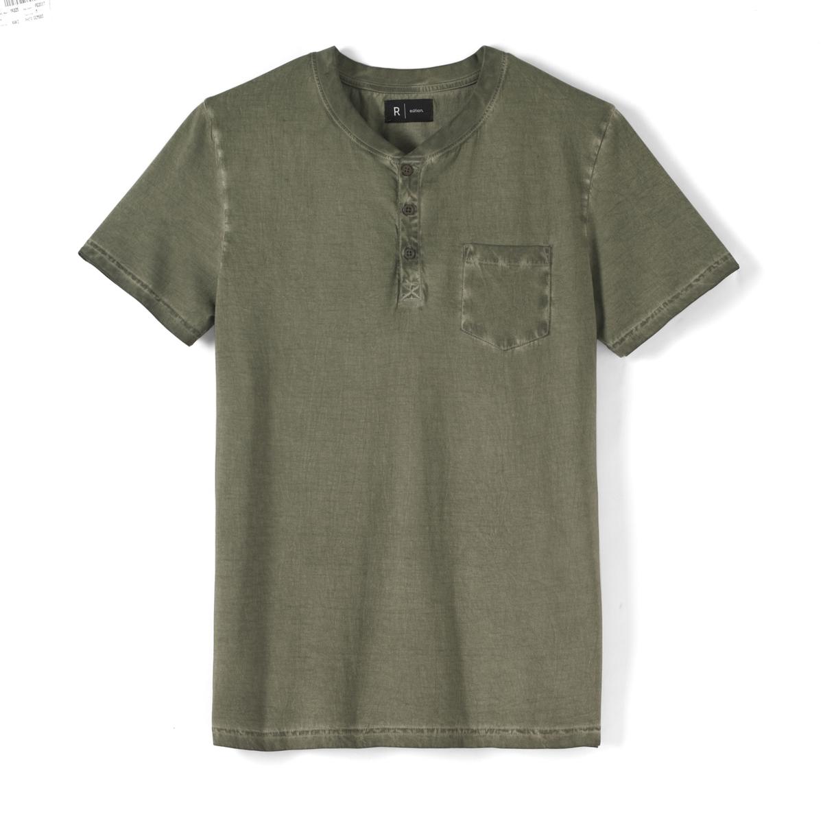футболка с тунисским вырезом и вытертым эффектом, 100% хлопок