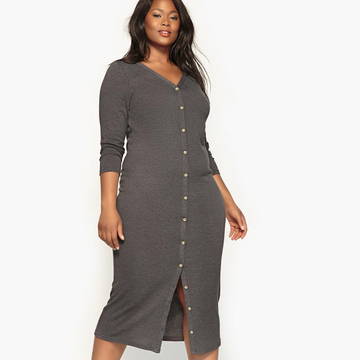 Платье трикотажное на пуговицахОписаниеИзящное длинное платье из трикотажа. Простая модель прямого покроя с  V-образным декольте спереди и сзади, длинное и очень женственное платье. Детали •  Форма : прямая •  Длина ниже колен •  Длинные рукава    •   V-образный вырезСостав и уход •  49% полиэстера, 47% вискозы, 4% эластана •  Tемпература стирки 30° на деликатном режиме •  Сухая чистка и отбеливатели запрещены •  Не использовать барабанную сушку •  Низкая температура глажкиТовар из коллекции больших размеров •  Длина : 120 см<br><br>Цвет: серый меланж,хаки,черный<br>Размер: 52 (FR) - 58 (RUS).50 (FR) - 56 (RUS).44 (FR) - 50 (RUS).54 (FR) - 60 (RUS).52 (FR) - 58 (RUS).50 (FR) - 56 (RUS).46 (FR) - 52 (RUS).44 (FR) - 50 (RUS).62 (FR) - 68 (RUS).54 (FR) - 60 (RUS).52 (FR) - 58 (RUS).48 (FR) - 54 (RUS).44 (FR) - 50 (RUS).42 (FR) - 48 (RUS)