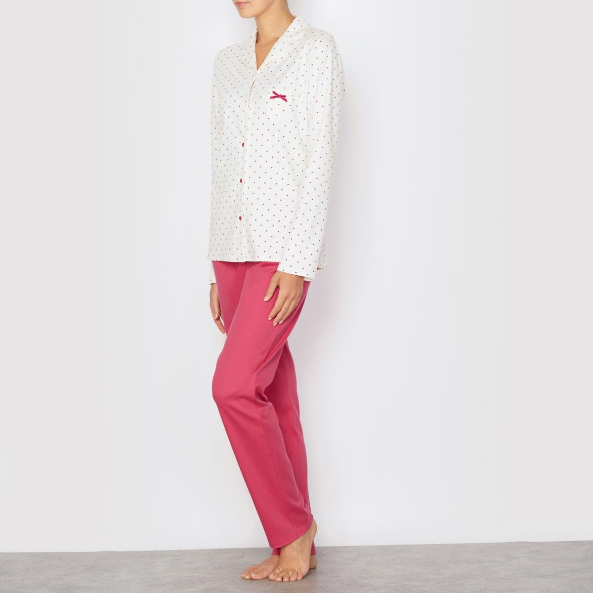 Пижама Flocon LE CHATСостав и описание:Рубашка в горошек:  Длинные рукава.Рубашечный воротник.Застёжка на обтяжные пуговицы.Брюки однотонные:Эластичный пояс.Длина по внутреннему шву: 78,5 см.Материал: 100% хлопка.<br><br>Цвет: экрю/ красный