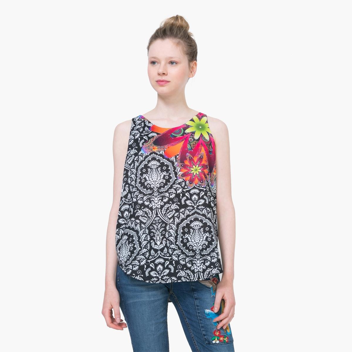 Блузка без рукавов с рисунком