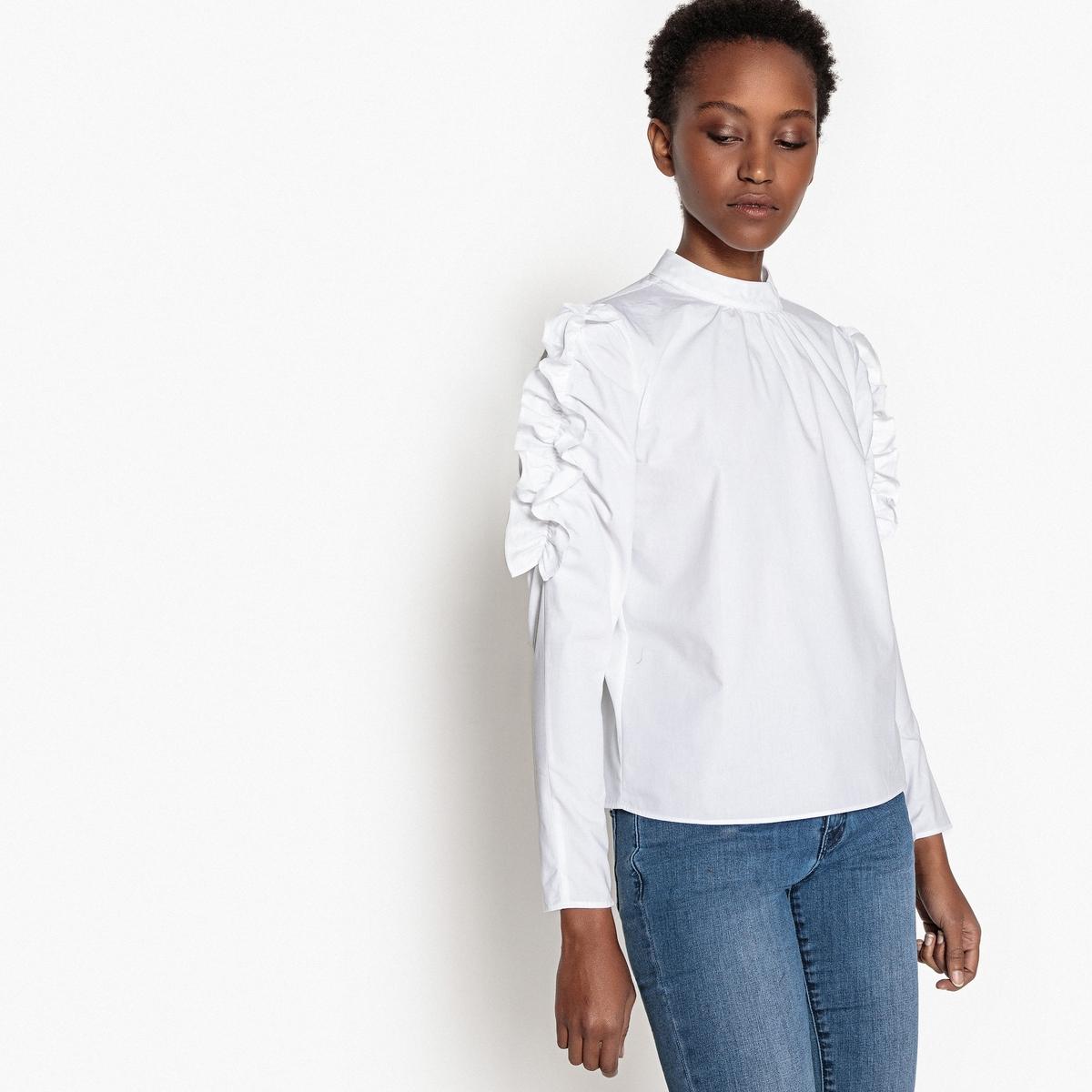 Блузка однотонная с воротником-стойкой и длинными рукавами