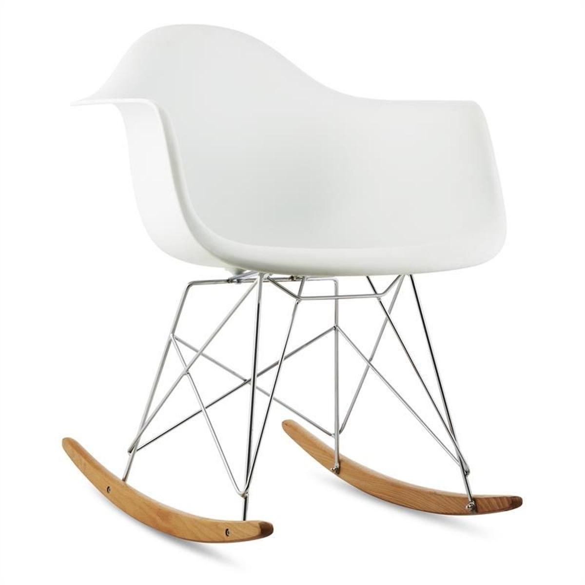 Aurel Chaise à Bascule Design RéTro Bois De Bouleau - Blanc