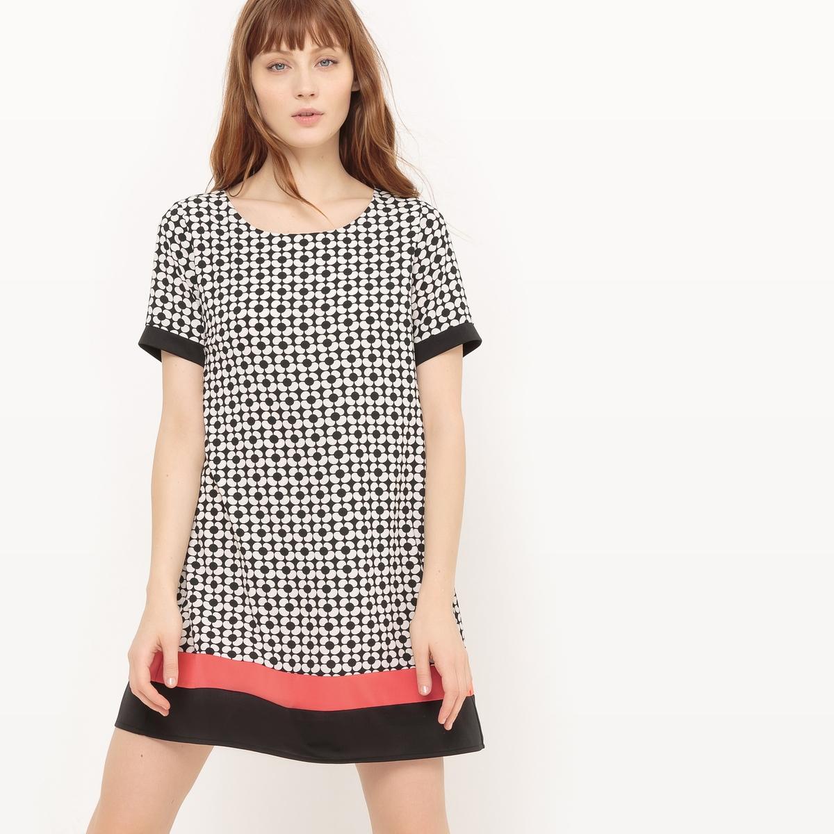 Платье прямое с короткими рукавами и графичным рисункомМатериал : 3% эластана, 97% полиэстера.  Длина рукава : Короткие рукава  Форма воротника : Круглый вырез Покрой платья : платье прямого покроя  Рисунок : графичный  Длина платья : короткое.<br><br>Цвет: рисунок черный