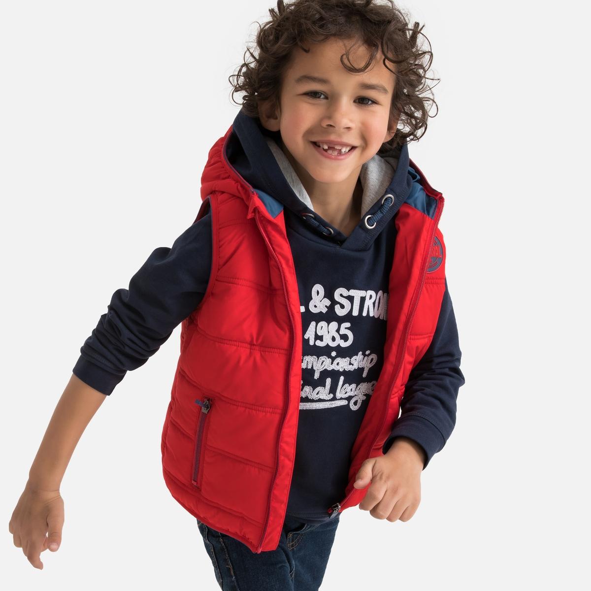Куртка LaRedoute Без рукавов с капюшоном 3-12 лет 8 лет - 126 см красный платье la redoute расклешенное на тонких бретелях с рисунком 3 12 лет 8 лет 126 см розовый