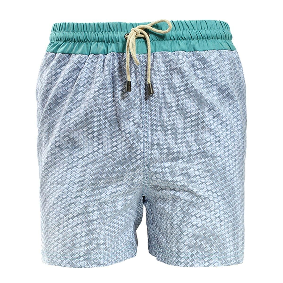 Short de bain motifs romains bleu avec ceinture bleue