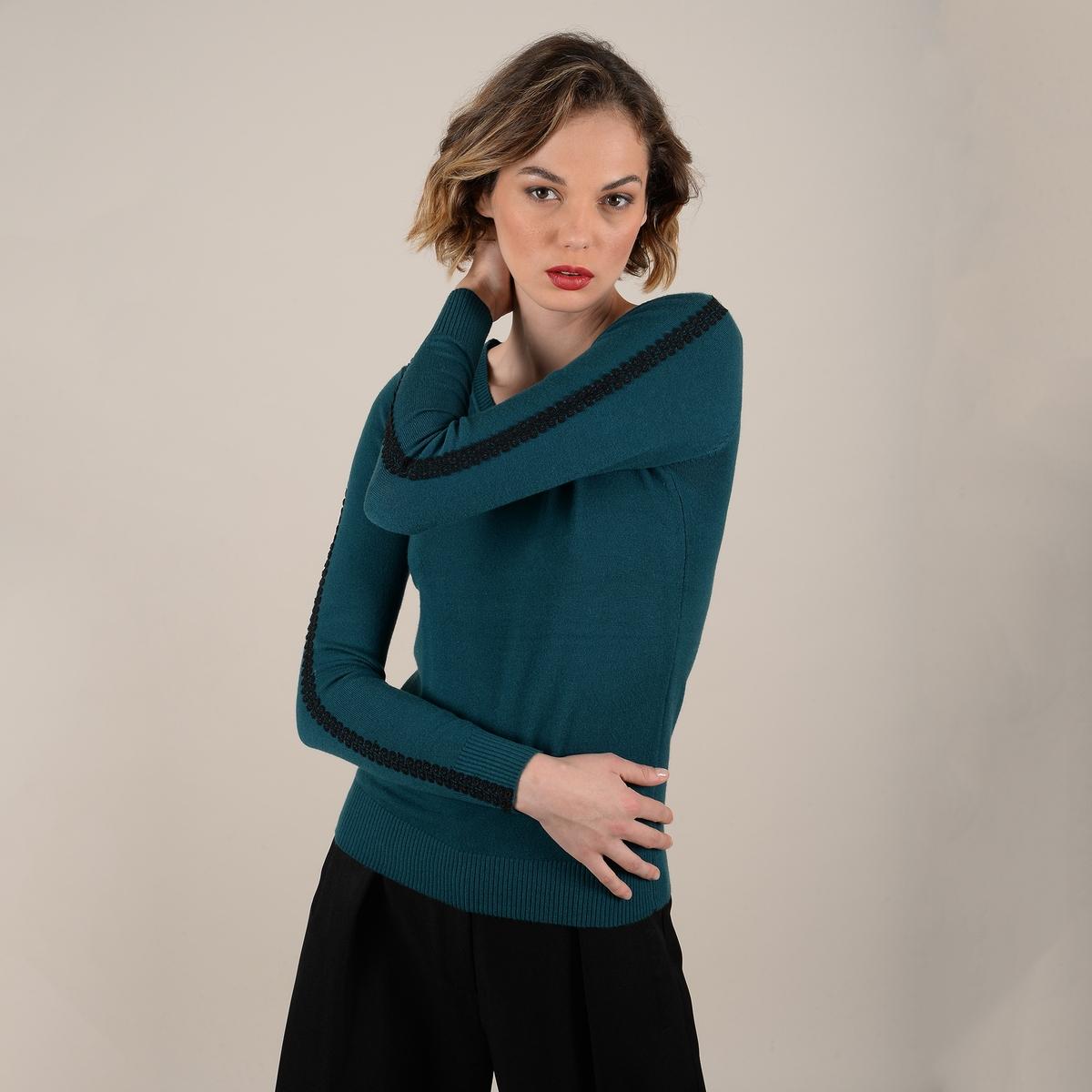 цена Пуловер La Redoute С тонкими полосами из кружева на рукавах M зеленый онлайн в 2017 году