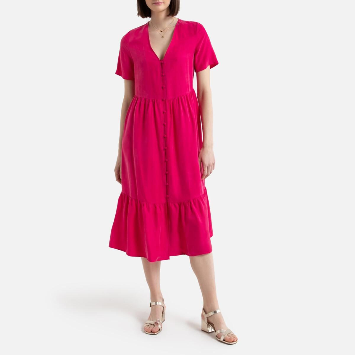 Платье La Redoute С V-образным вырезом с короткими рукавами средней длины 34 (FR) - 40 (RUS) розовый цена и фото