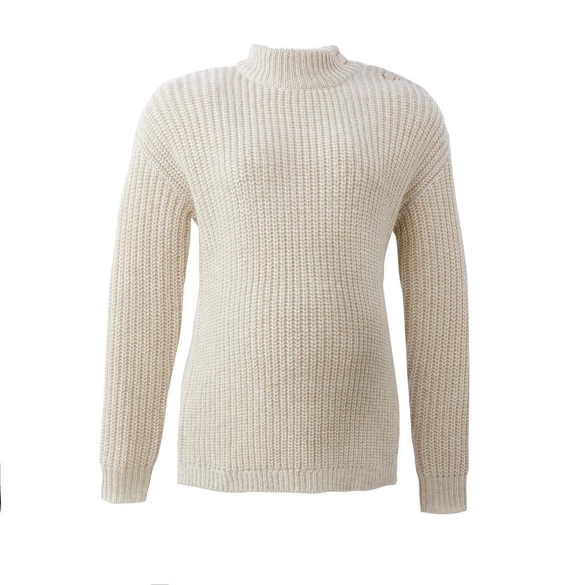 Пуловер La Redoute Для периода беременности с воротником-стойкой из плотного трикотажа S белый платье la redoute из трикотажа для периода беременности s другие