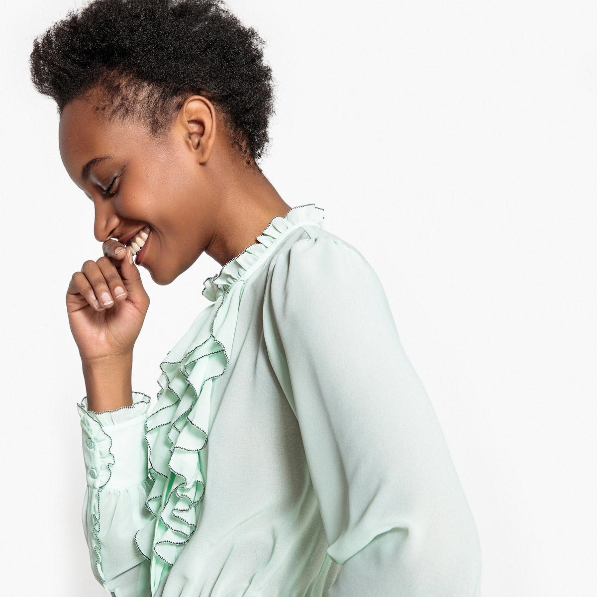 Camisa de mangas compridas com folhos