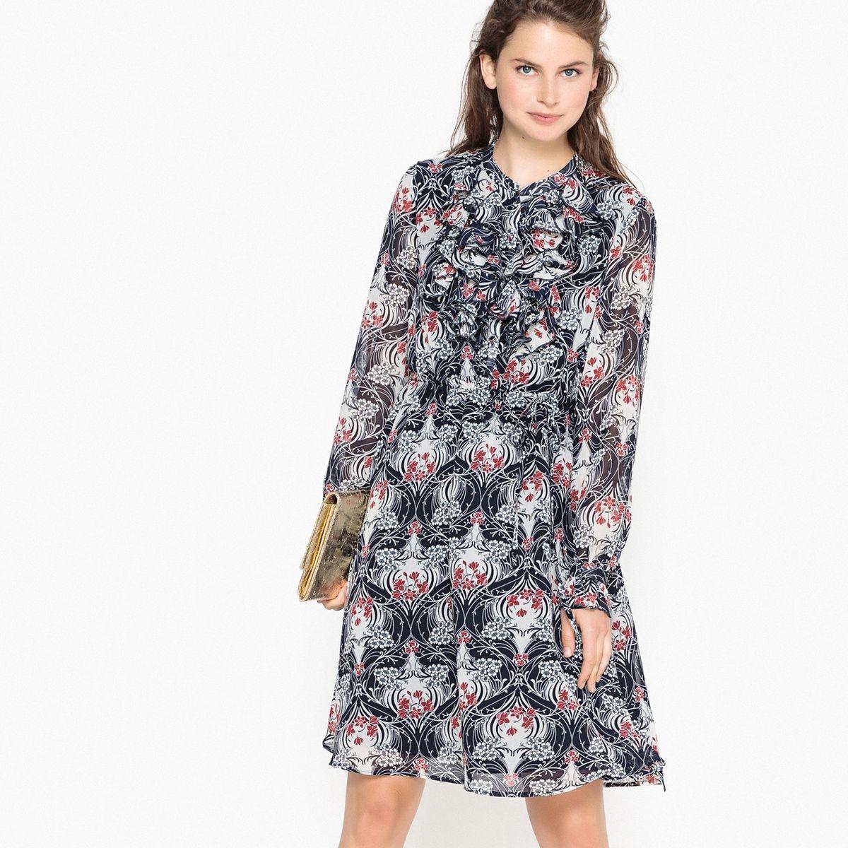 Robe imprimée floral, volants sur poitrine