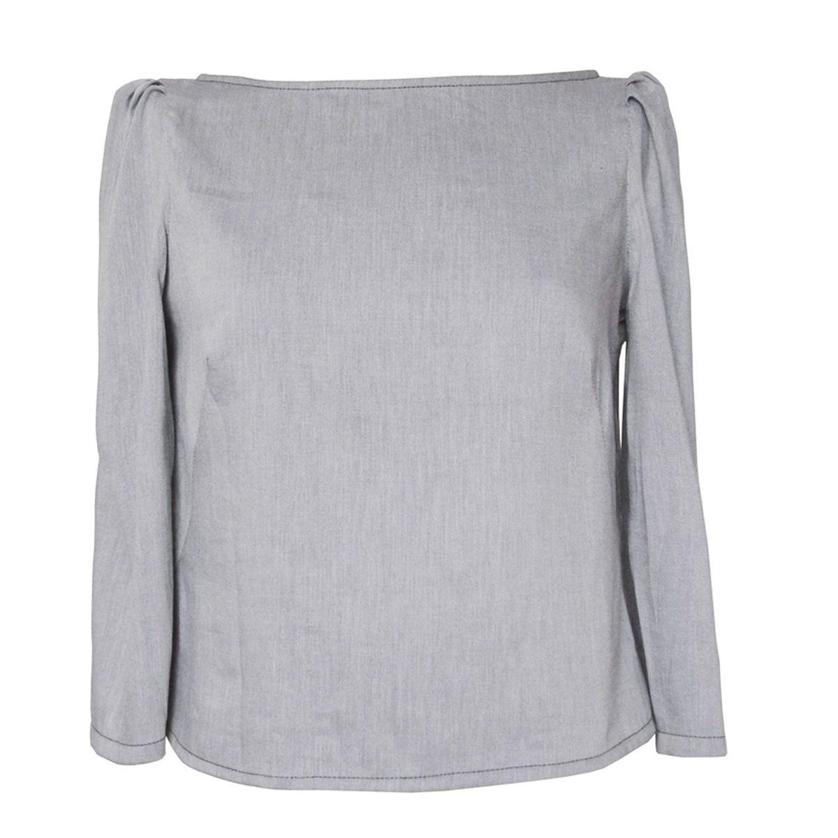 Top coton bio gris bleu