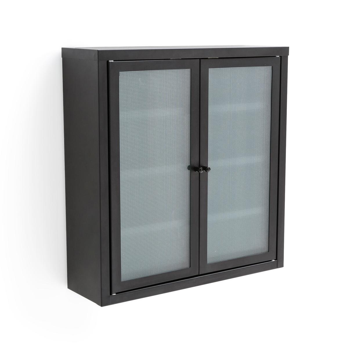 Шкаф настенный с 2 дверцами из металла и стекла PODA
