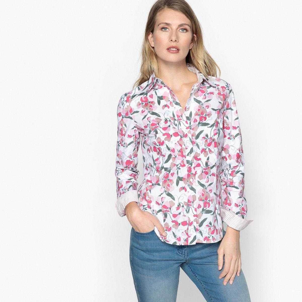 Блузка с рубашечным воротником и цветочным рисунком