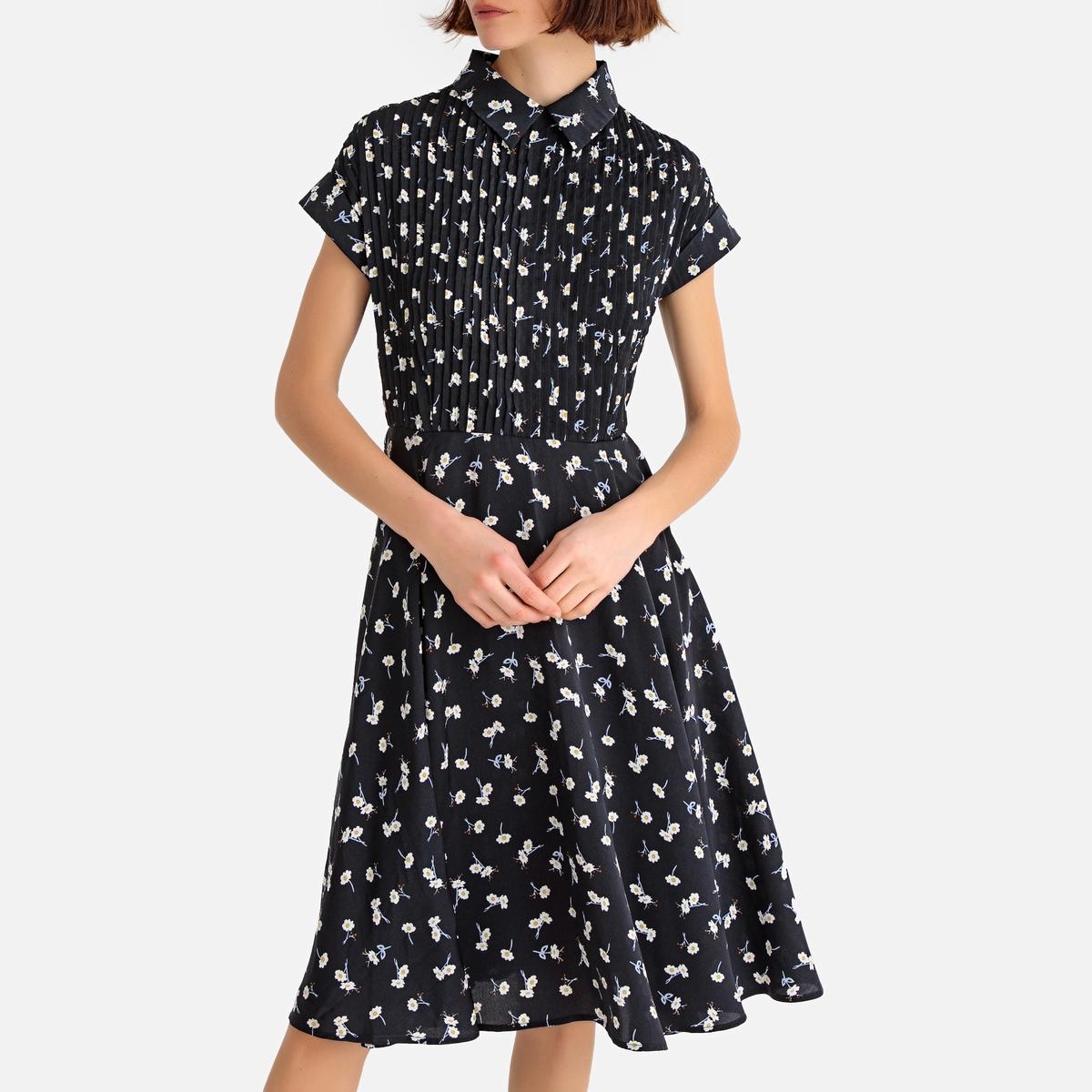 Платье-рубашка La Redoute Расклешенное с цветочным рисунком длина миди 34 (FR) - 40 (RUS) черный платье la redoute длинное с цветочным рисунком и напускным эффектом 34 fr 40 rus черный