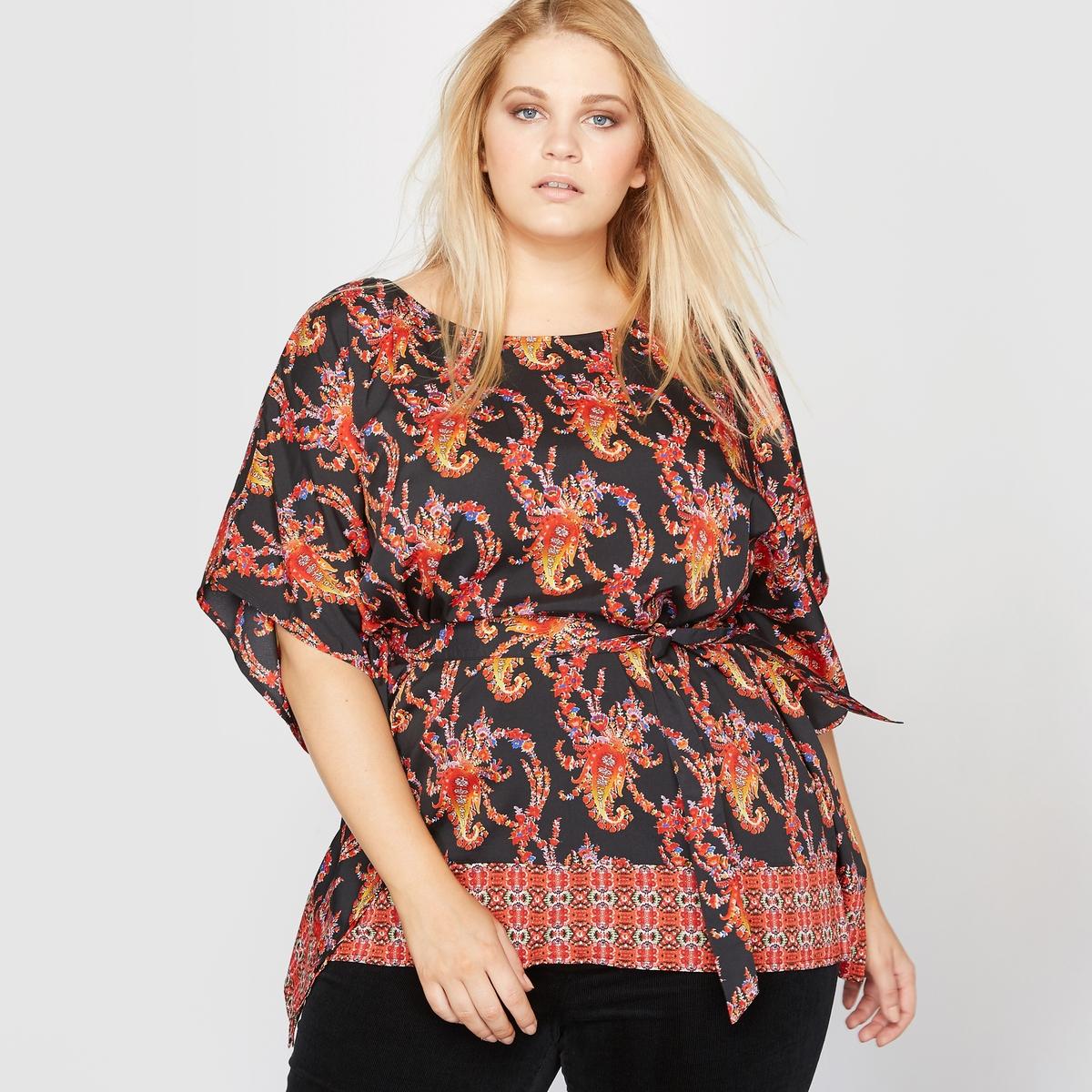 Блузка с принтом и ремешком блузка с принтом