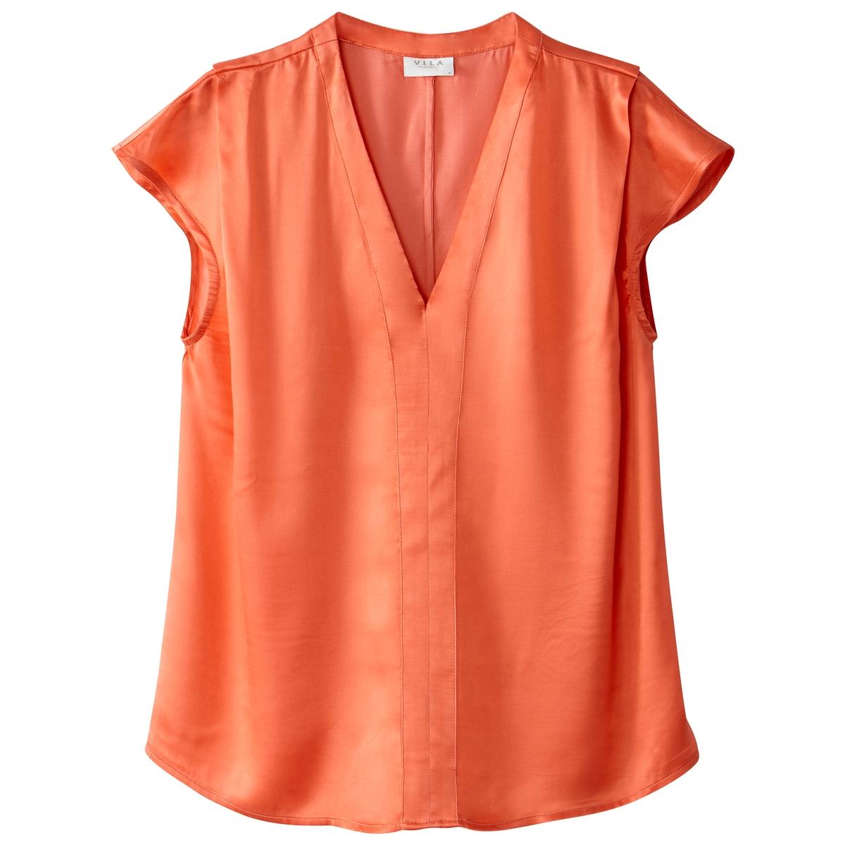 Блузка однотонная с круглым вырезом и рукавами 3/4Детали •  Рукава 3/4 •  Круглый вырезСостав и уход •  40% вискозы, 60% ткани купро •  Следуйте советам по уходу, указанным на этикетке<br><br>Цвет: коралловый<br>Размер: M