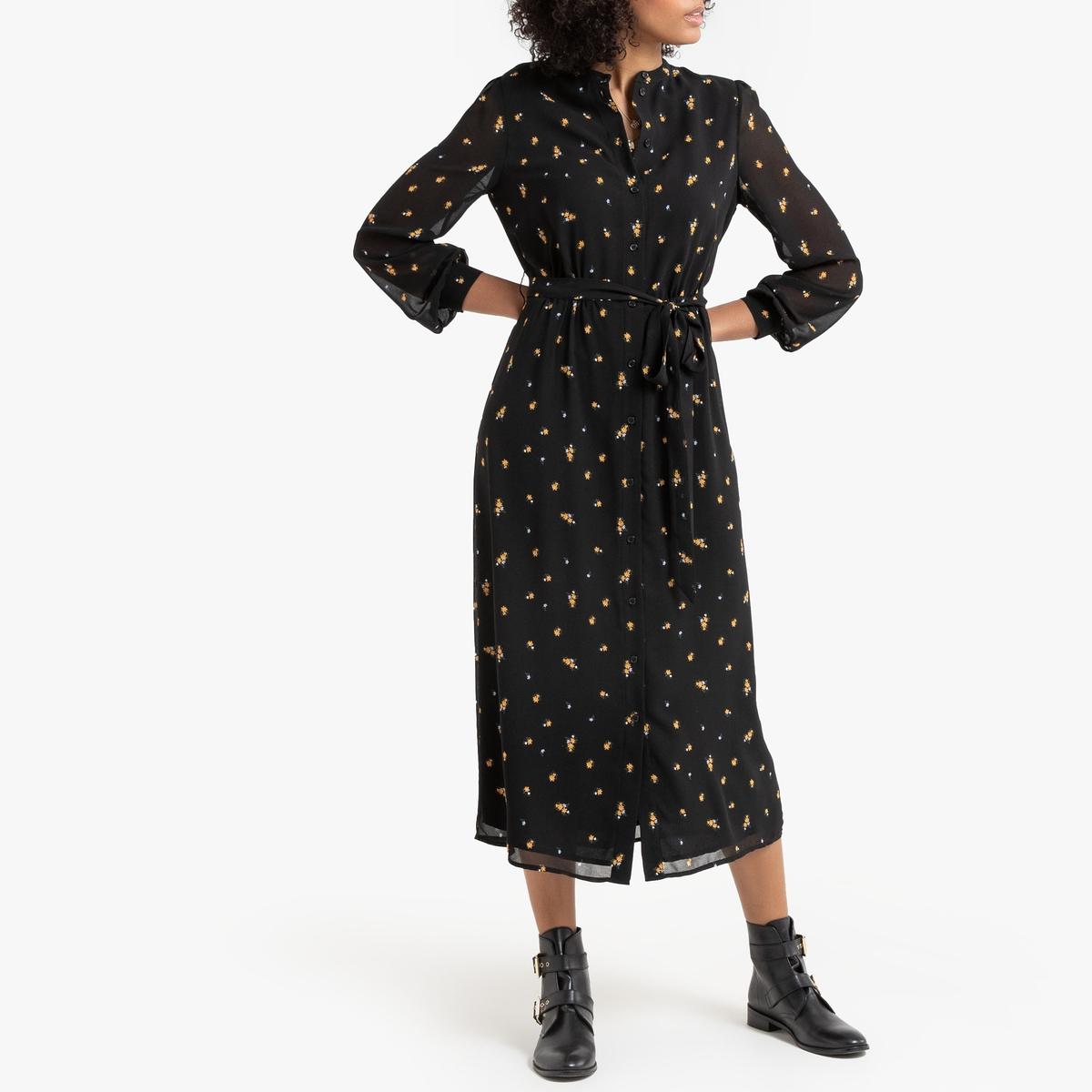 Платье-рубашка La Redoute С цветочным принтом 48 (FR) - 54 (RUS) черный