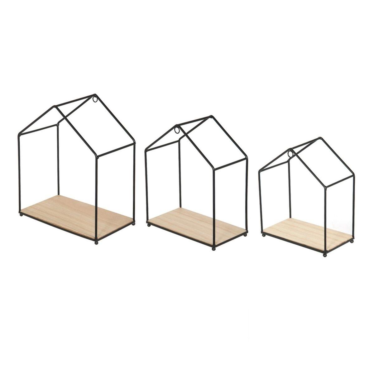 3 Etagères filaires Maison - Bois métal