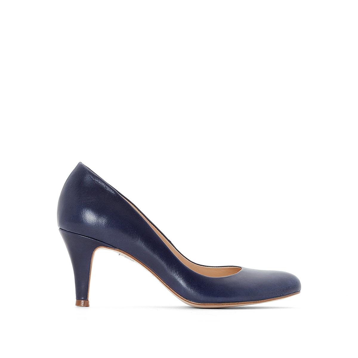 Туфли кожаные 10705Верх : Кожа   Подкладка : Кожа   Стелька : Кожа   Подошва : эластомер   Высота каблука : 5 см   Форма каблука : тонкий каблук   Мысок : закругленный   Застежка : без застежки<br><br>Цвет: синий морской<br>Размер: 41