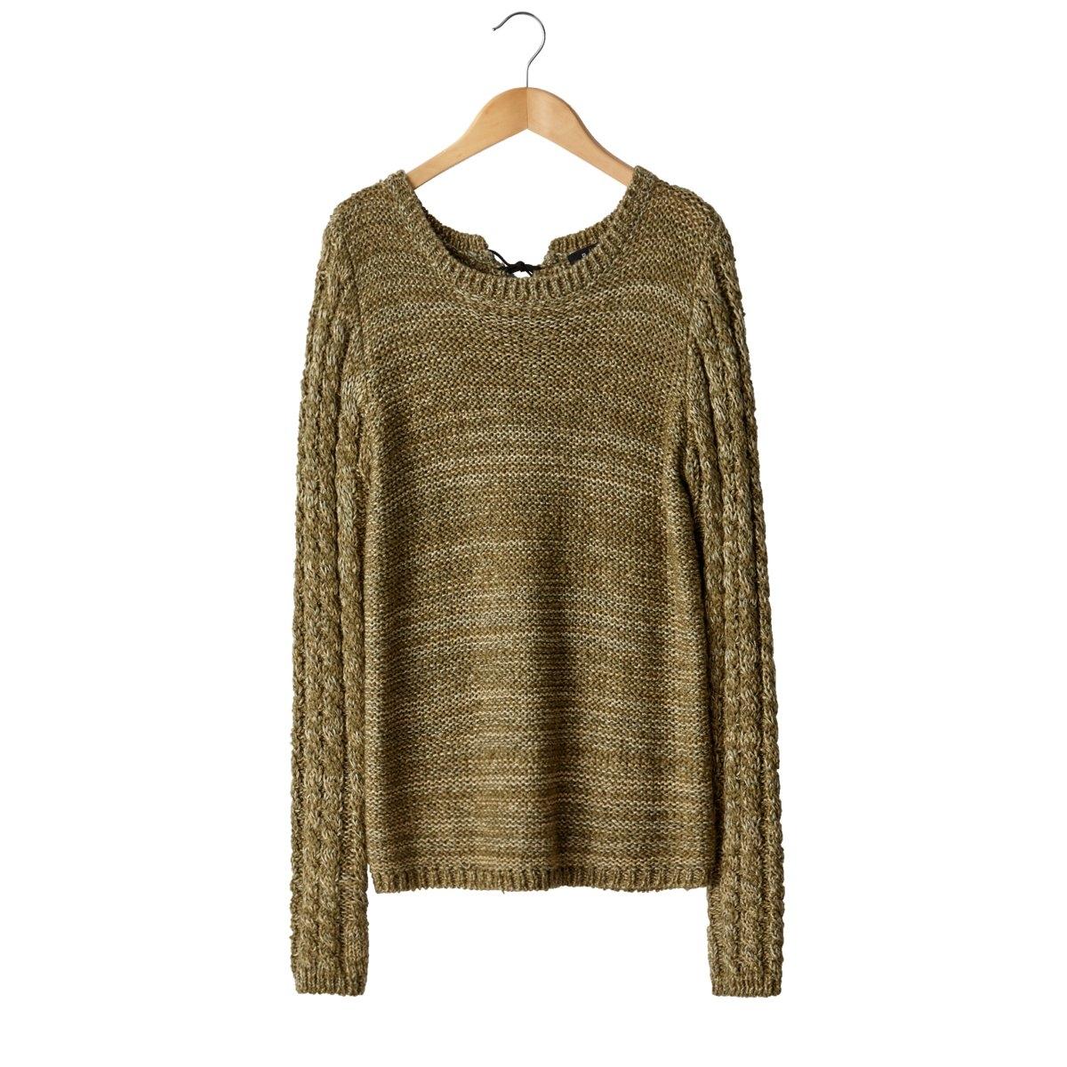 Пуловер со шнуровкой сзади<br><br>Цвет: хаки,черный<br>Размер: 50/52 (FR) - 56/58 (RUS).50/52 (FR) - 56/58 (RUS)