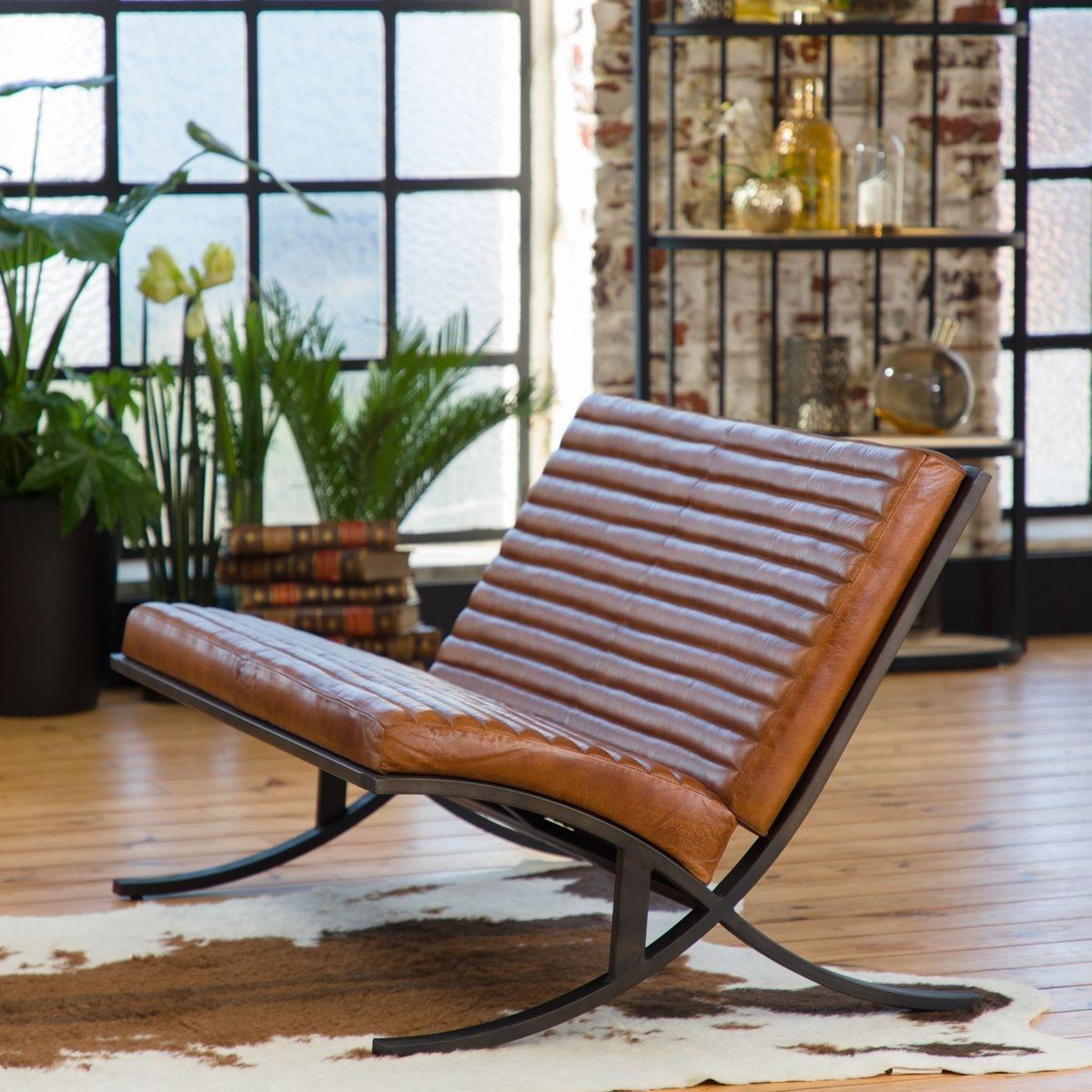 Canapé vintage marron assise striée - pied design fonte    ME