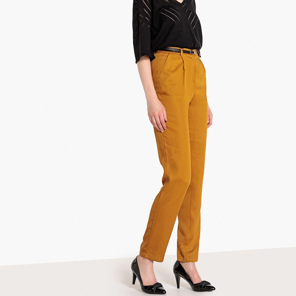 Pantalon taille haute, lyocell