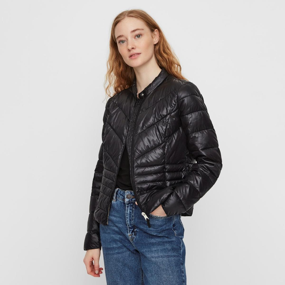 Куртка La Redoute Короткая на молнии с высоким воротником M черный